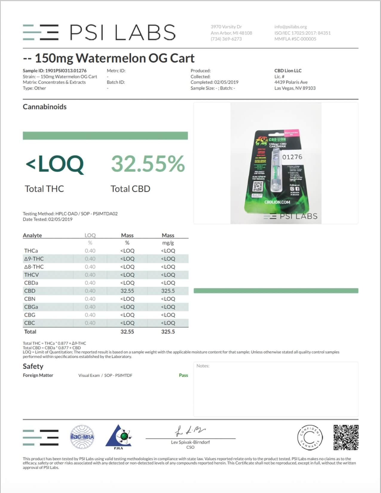 CBD Lion CBD Cartridge Watermelon OG 150mg Lab Report