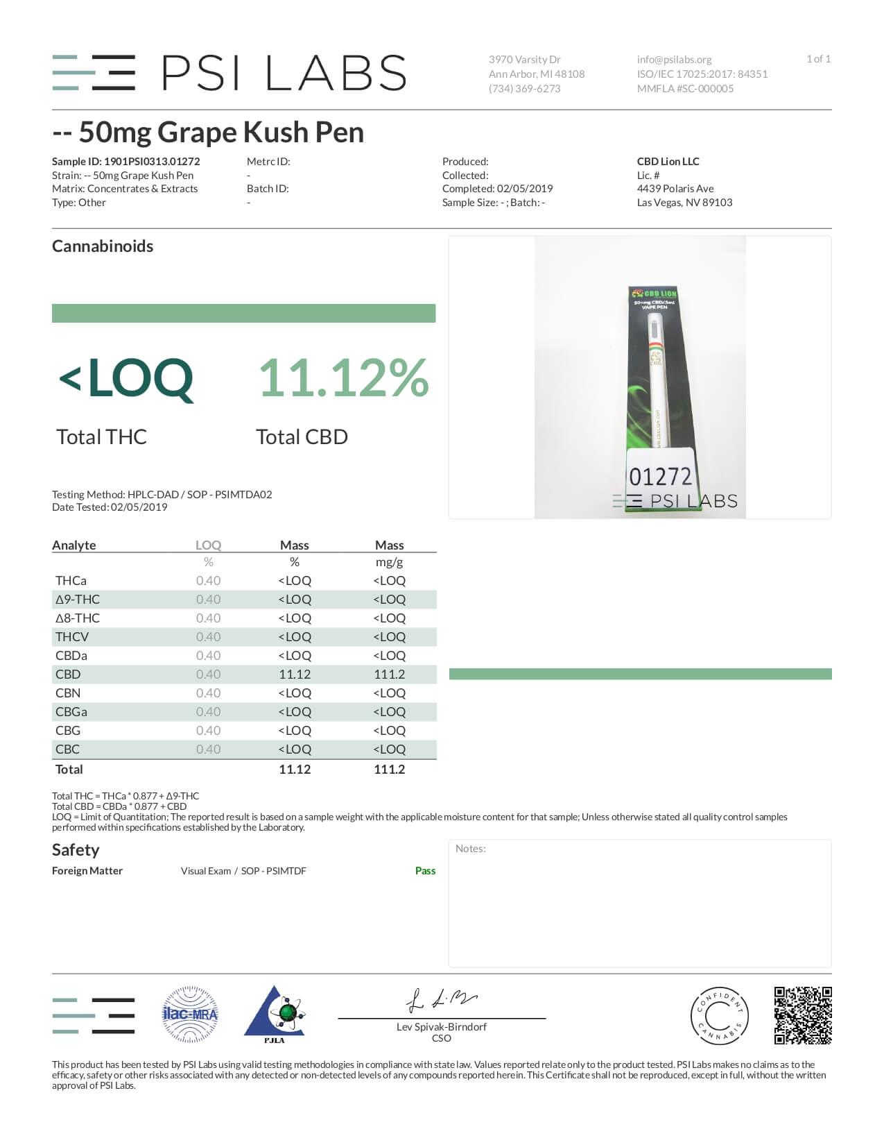 CBD Lion CBD Disposable Vape Pen Grape Kush Lab Report