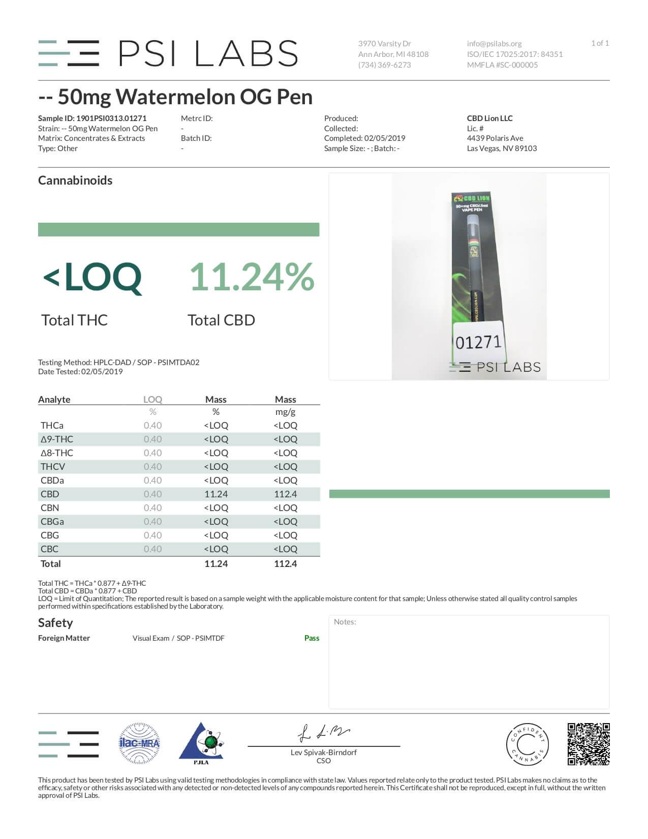 CBD Lion CBD Disposable Vape Pen Watermelon OG Lab Report
