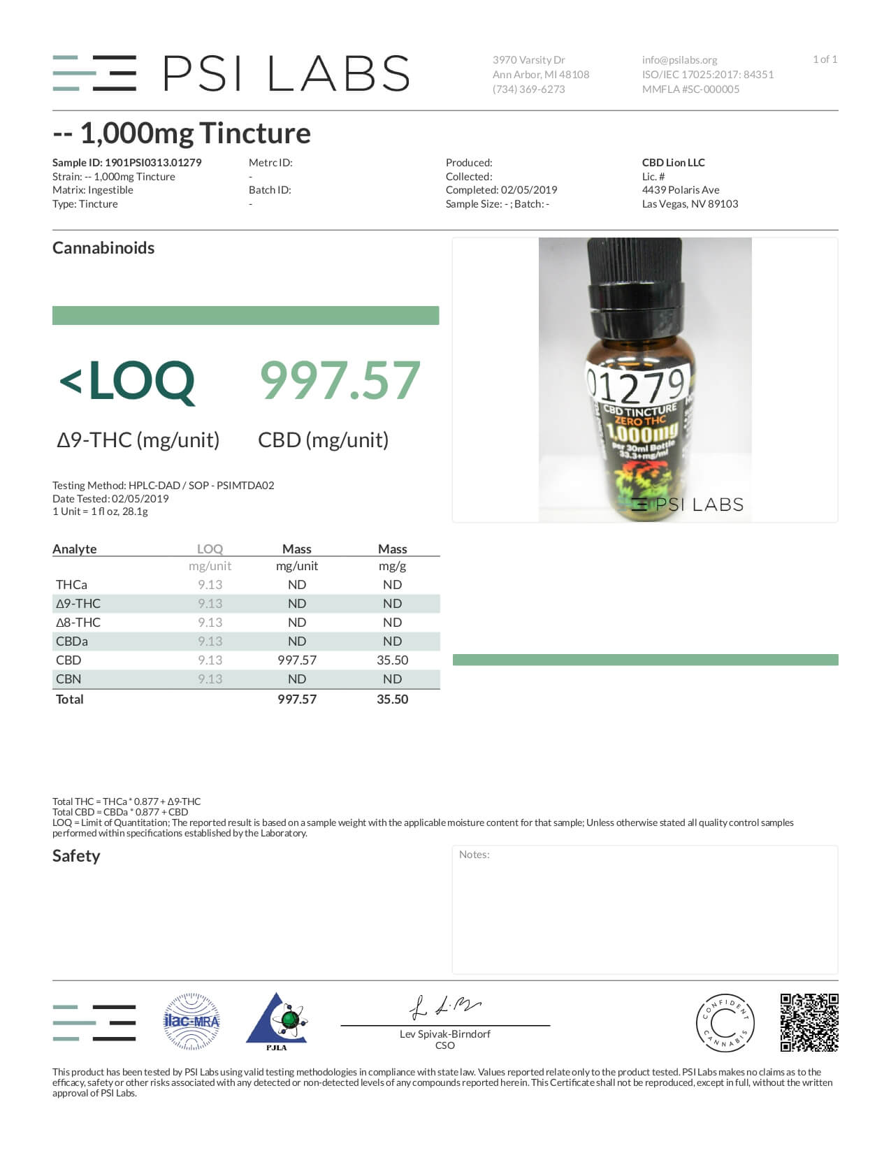 CBD Lion CBD Tincture Oil 1000mg Lab Report