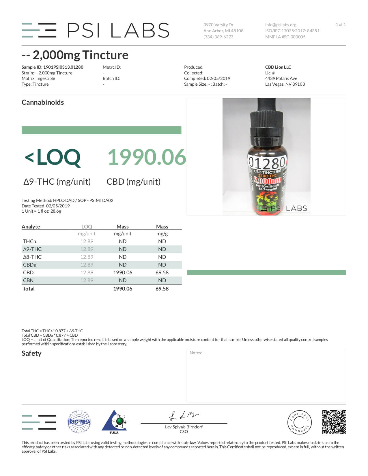 CBD Lion CBD Tincture Oil 2000mg Lab Report