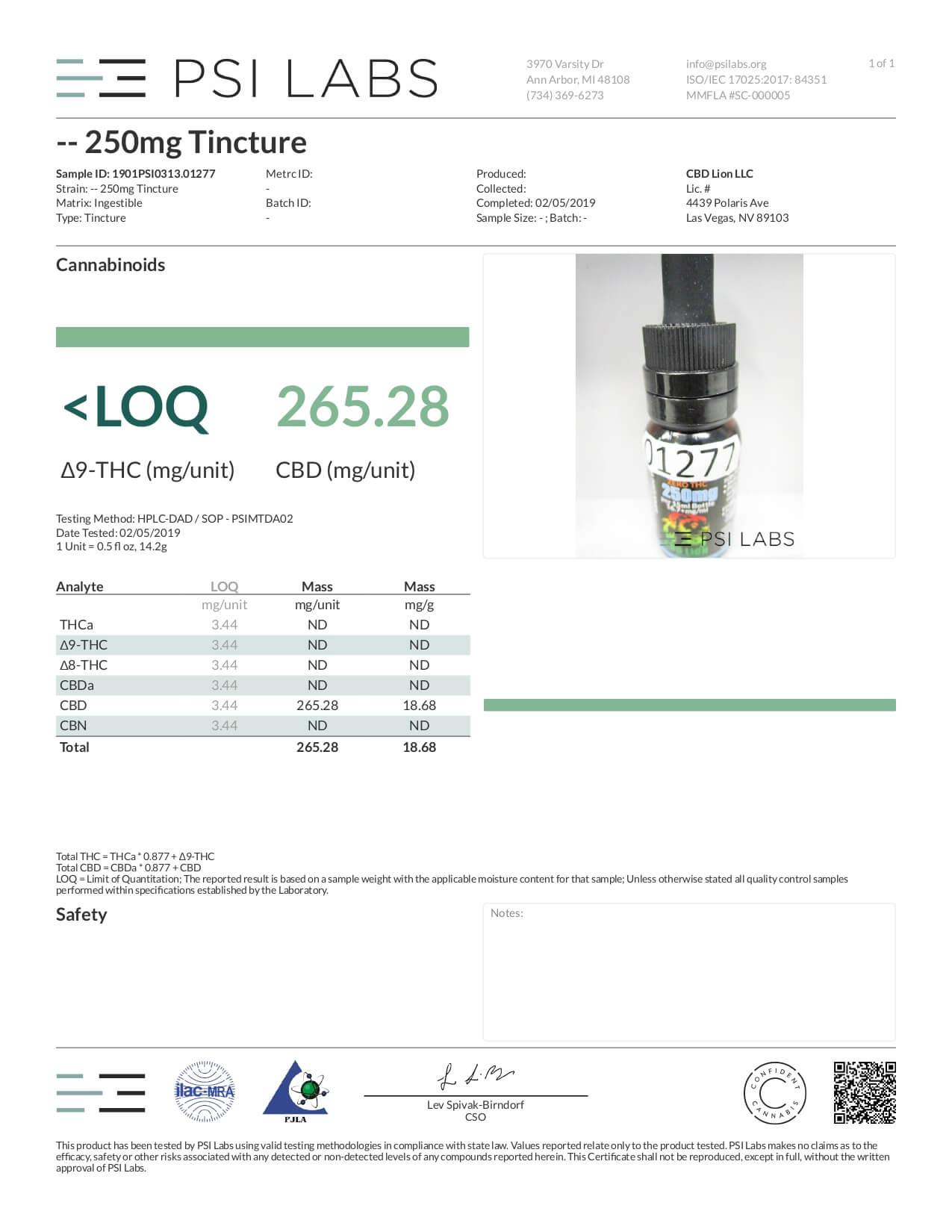 CBD Lion CBD Tincture Oil 250mg Lab Report