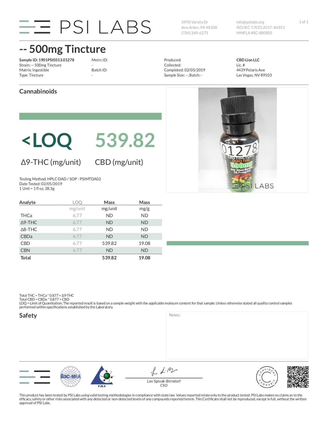 CBD Lion CBD Tincture Oil 500mg Lab Report