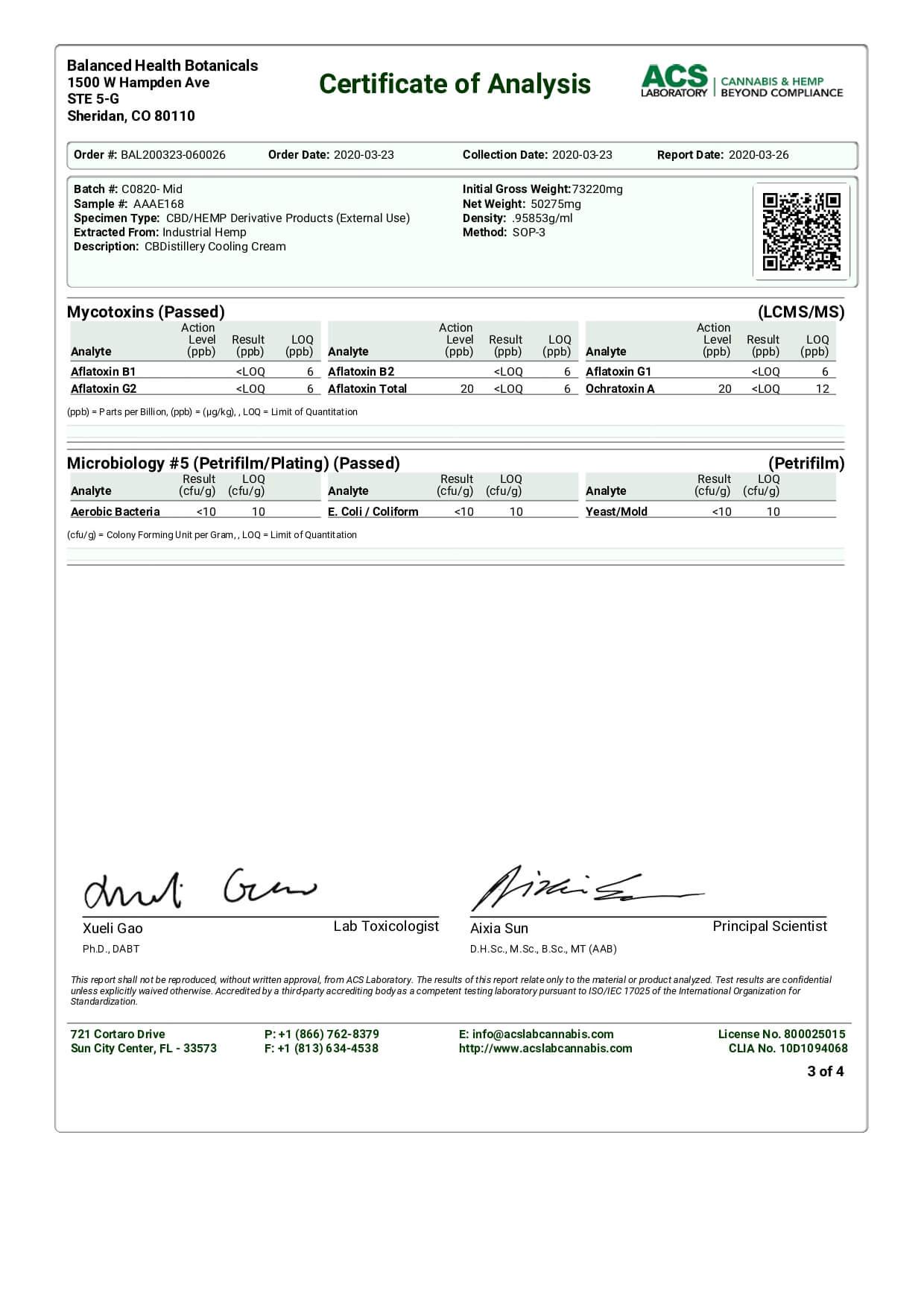 CBDistillery CBD Topical Broad Spectrum Cooling Cream Lab Report