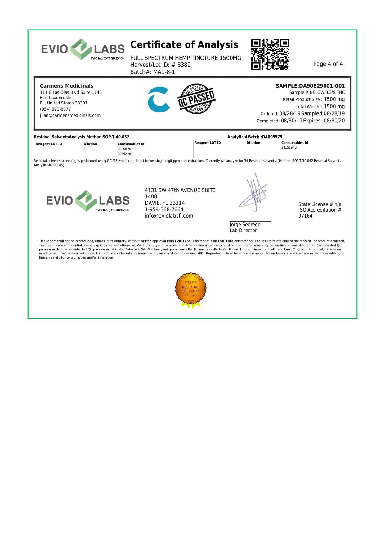 Carmen's Medicinals CBD Tincture Full Spectrum Oil 1500mg Lab Report