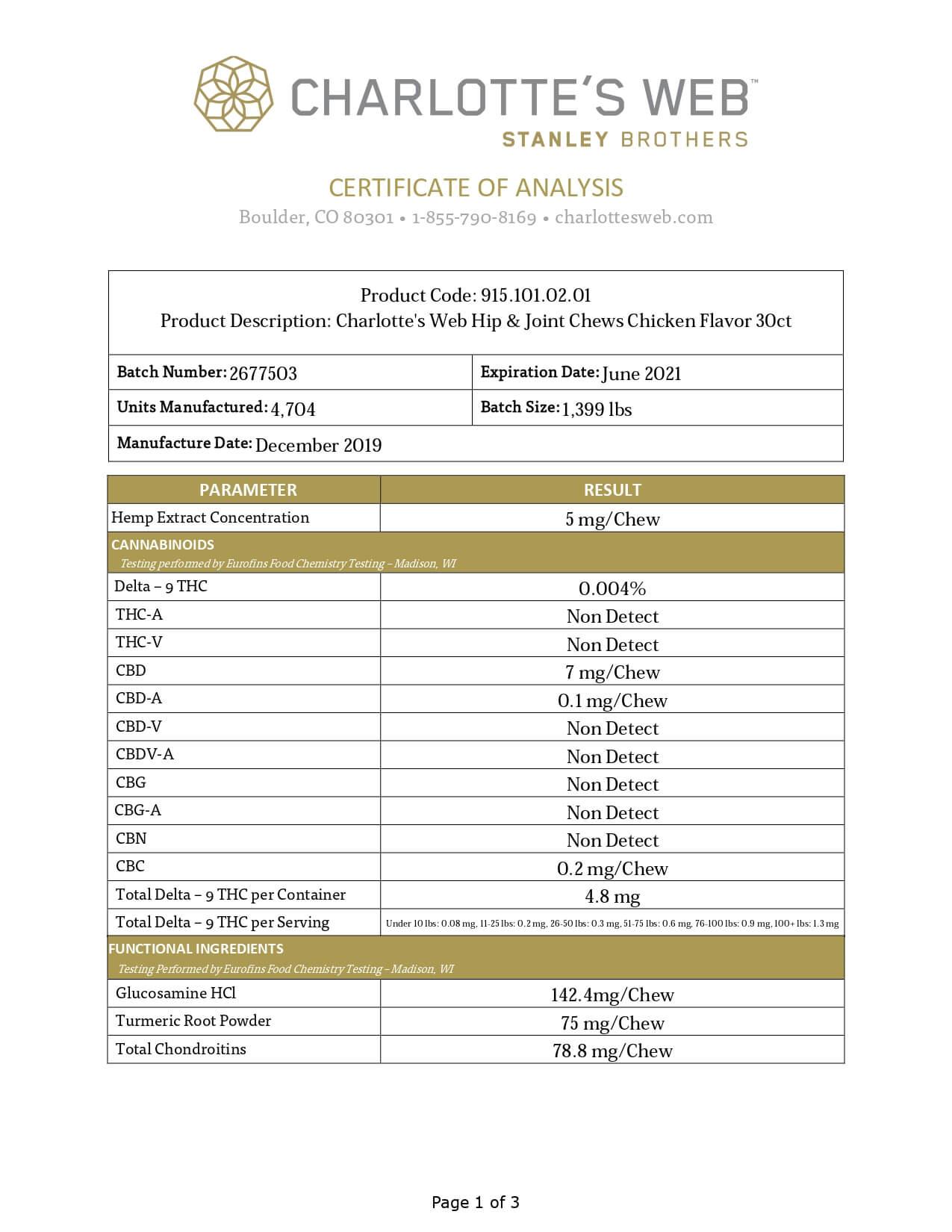 Charlottes Web CBD Pet Edible Full Spectrum Hip & Joint Chews Lab Report