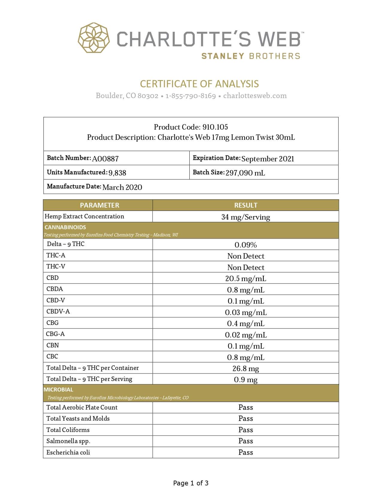 Charlottes Web CBD Tincture Full Spectrum Lemon Twist 17mg 1ml Lab Report