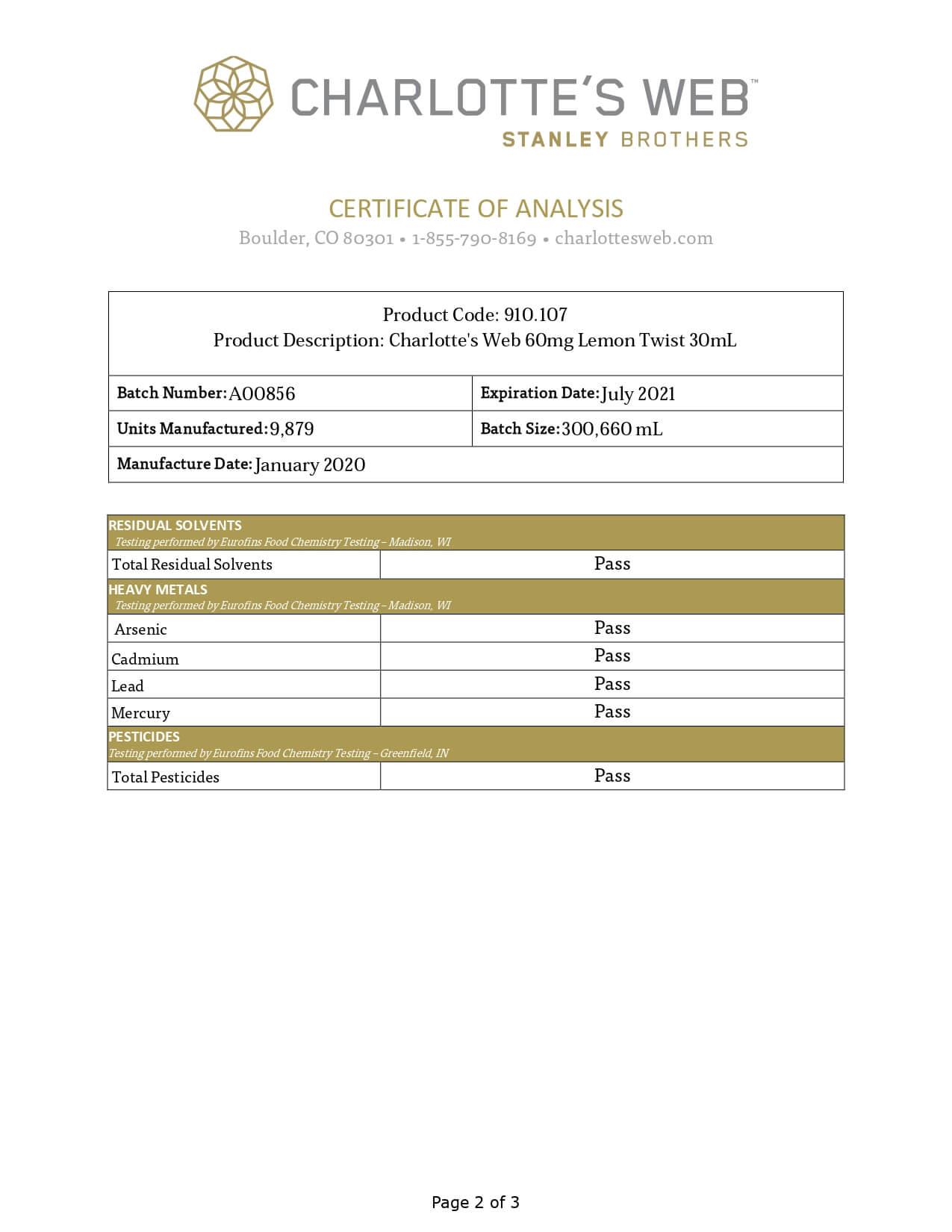 Charlottes Web CBD Tincture Full Spectrum Lemon Twist 60mg 1ml Lab Report