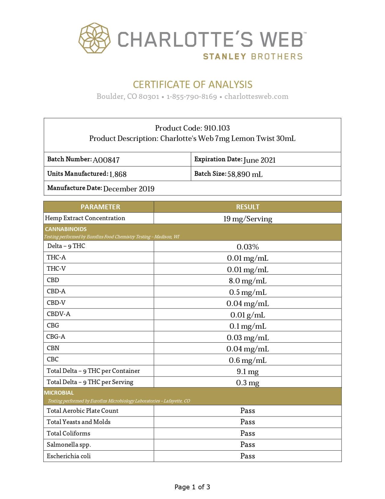 Charlottes Web CBD Tincture Full Spectrum Lemon Twist 7mg 1ml Lab Report