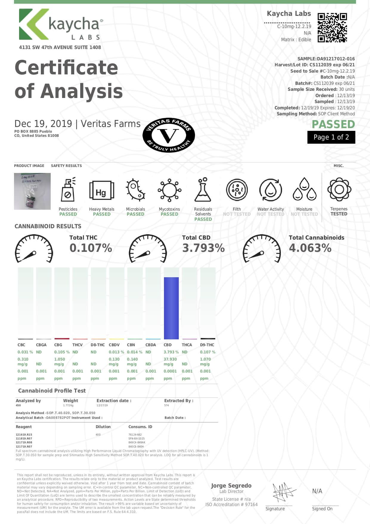Veritas Farms CBD Capsule Full Spectrum Capsules 10mg Lab Report