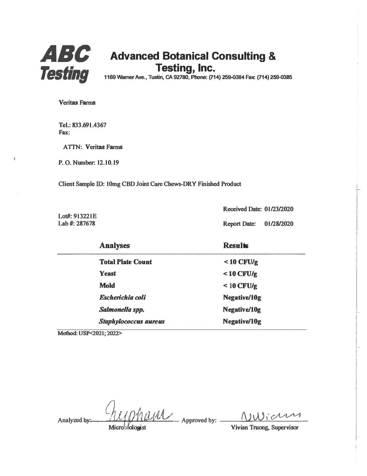 Veritas Farms CBD Pet Edible Full Spectrum Joint Care Chews Lab Report