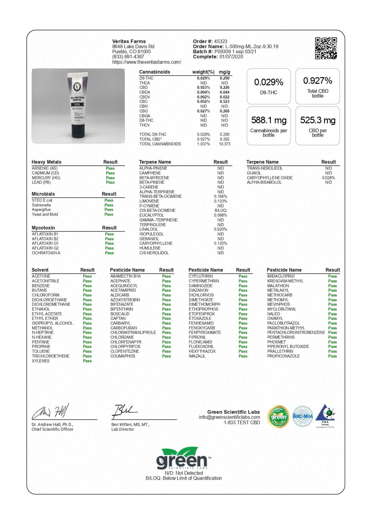 Veritas Farms CBD Topical Full Spectrum Minted Lavender Lotion 500mg Lab Report