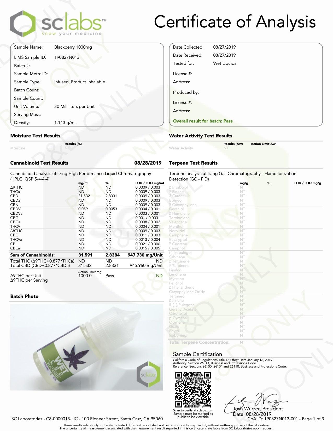 WET CBD Vape Blackberry 1000mg Lab Report