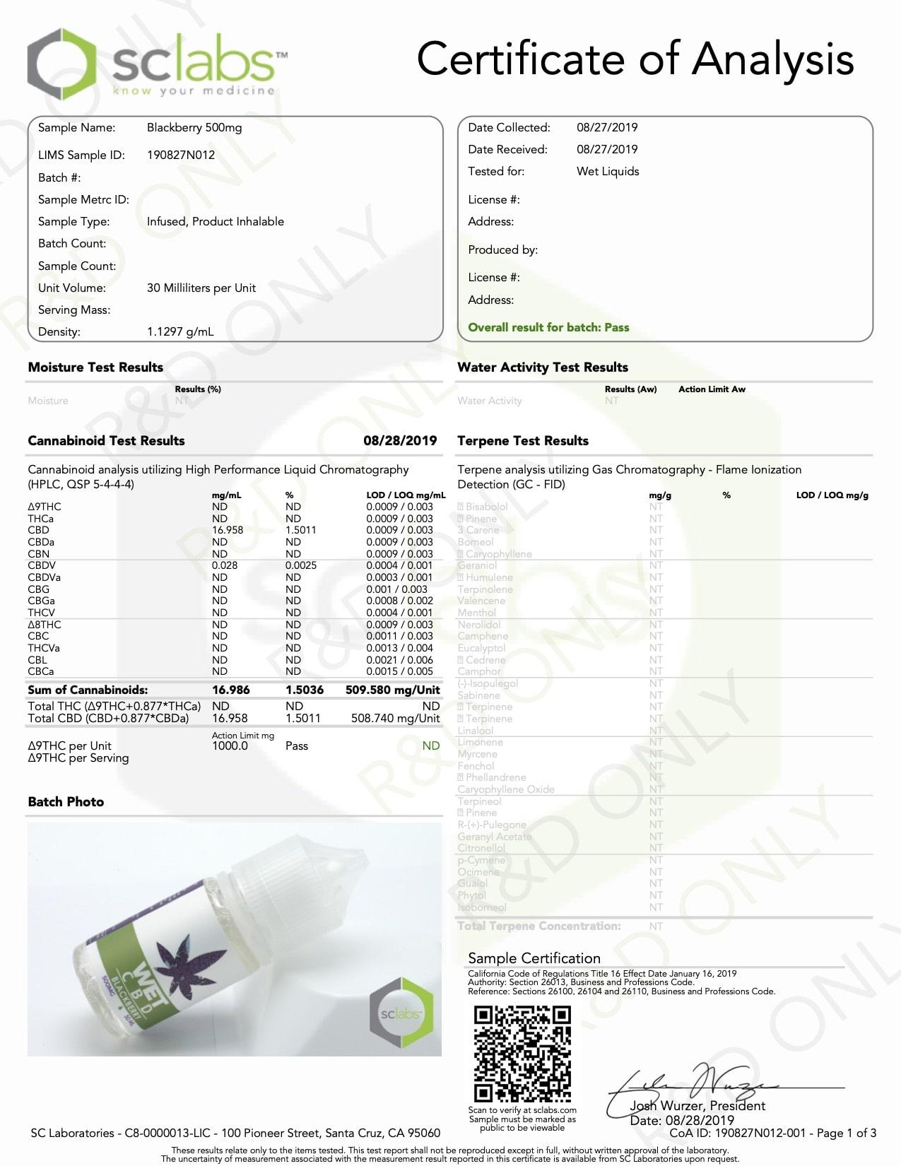 WET CBD Vape Blackberry 500mg Lab Report