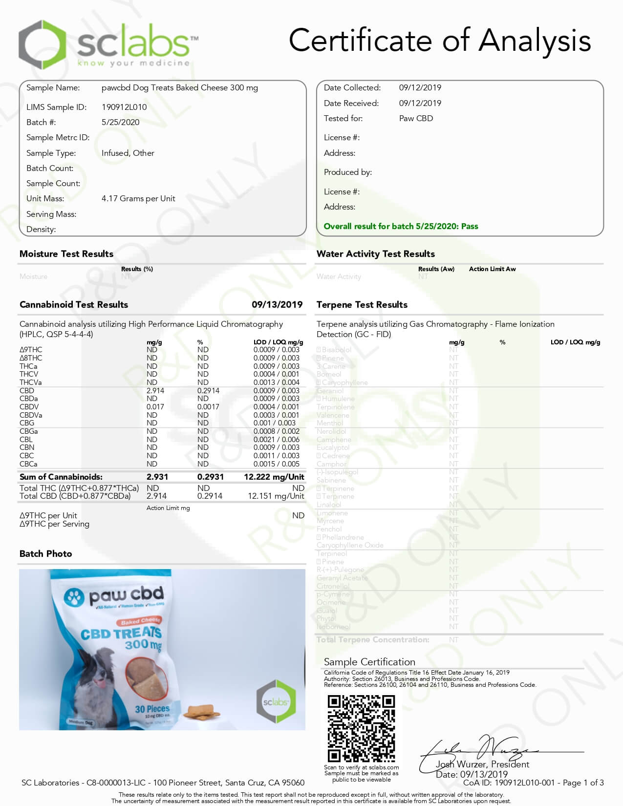 cbdMD CBD Pet Edible Baked Cheese Dog Treats 300mg Lab Report