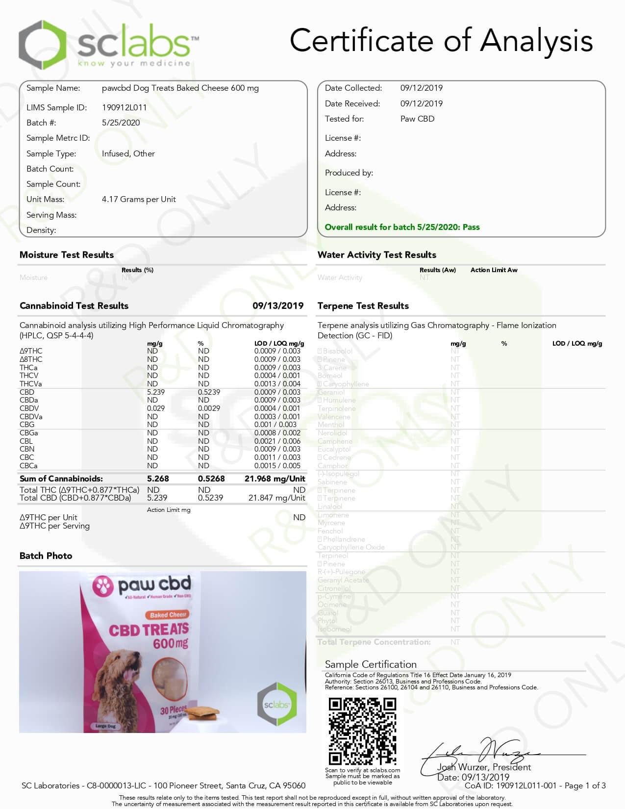 cbdMD CBD Pet Edible Baked Cheese Dog Treats 600mg Lab Report
