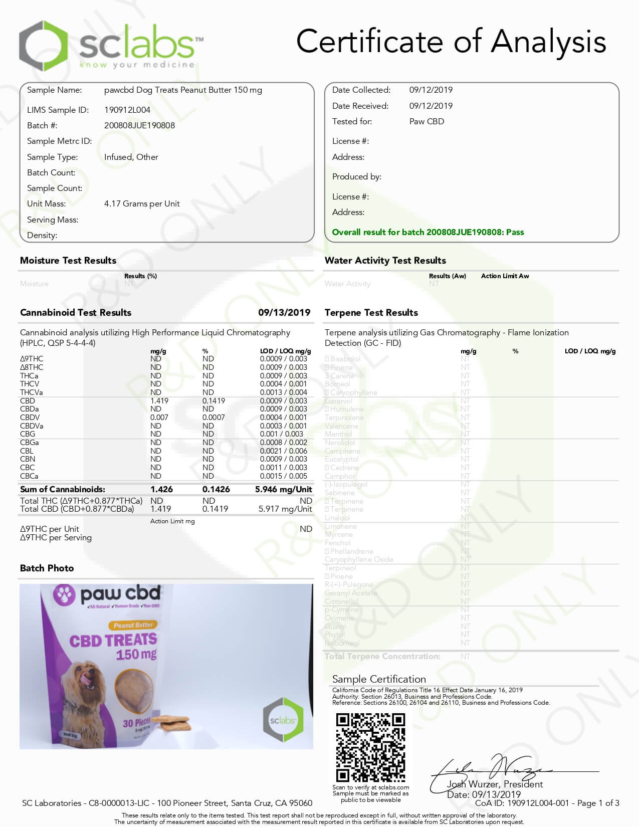 cbdMD CBD Pet Edible Peanut Butter Dog Treats 150mg Lab Report