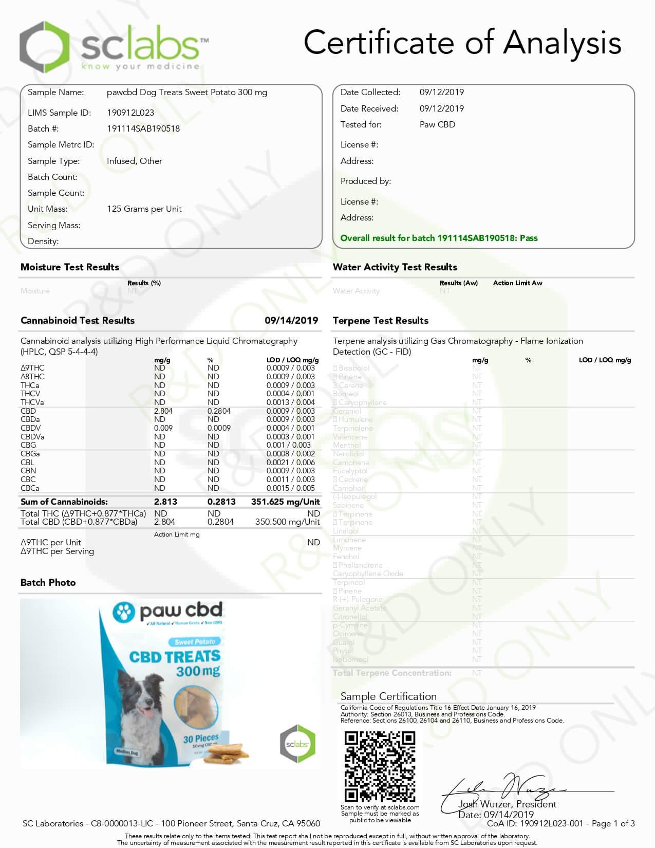 cbdMD CBD Pet Edible Sweet Potato Dog Treats 300mg Lab Report