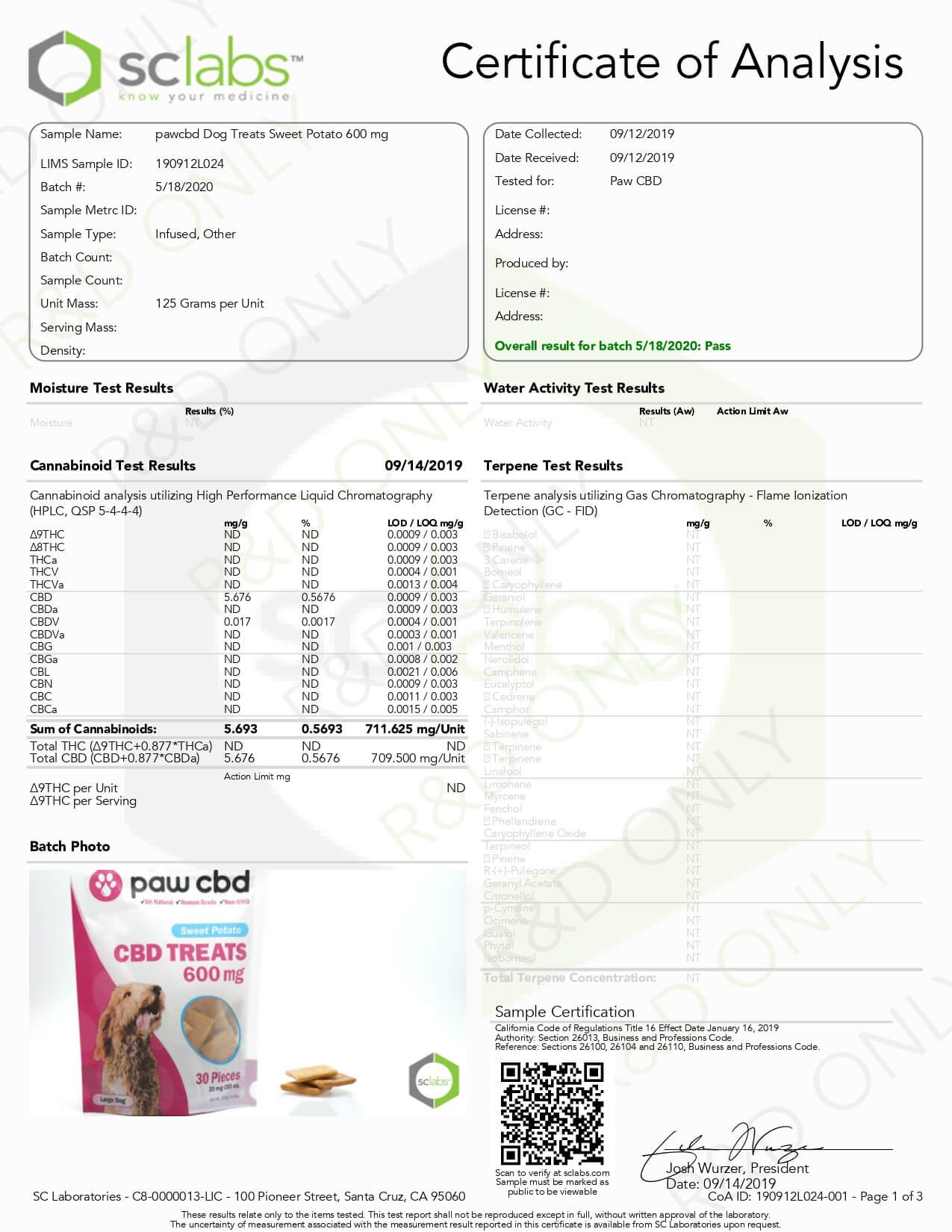 cbdMD CBD Pet Edible Sweet Potato Dog Treats 600mg Lab Report