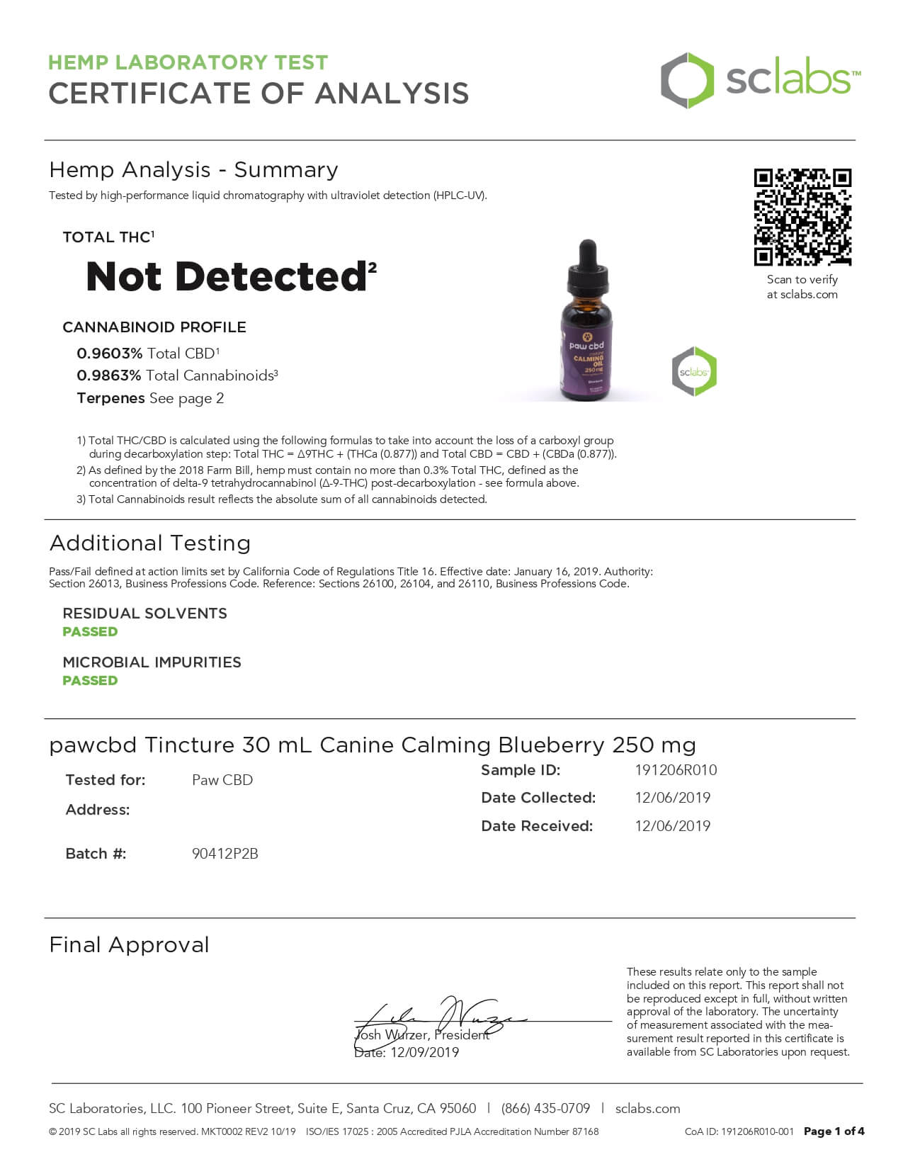 cbdMD CBD Pet Tincture Blueberry Calming Oil for Canines 250mg Lab Report
