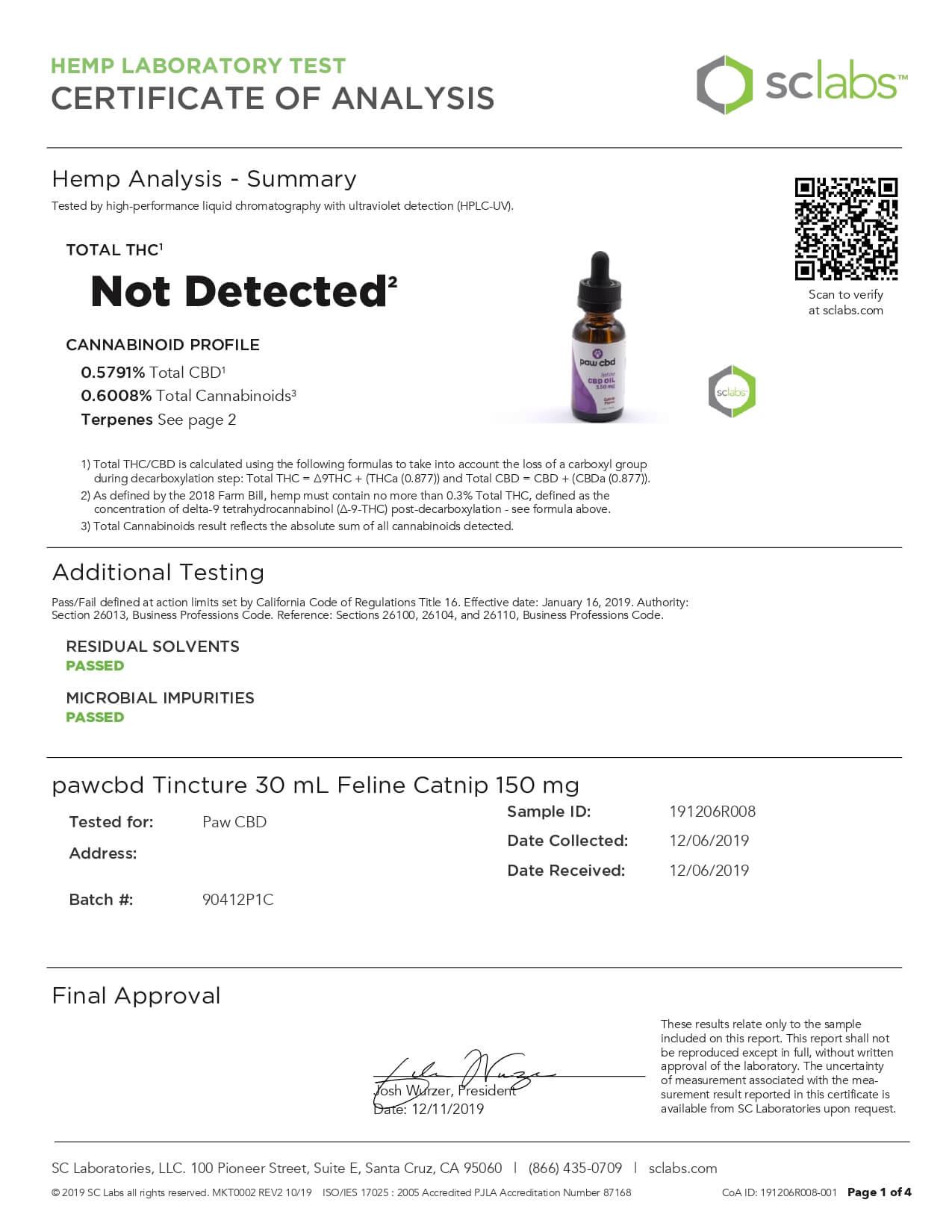 cbdMD CBD Pet Tincture Catnip Flavored for Felines 150mg Lab Report