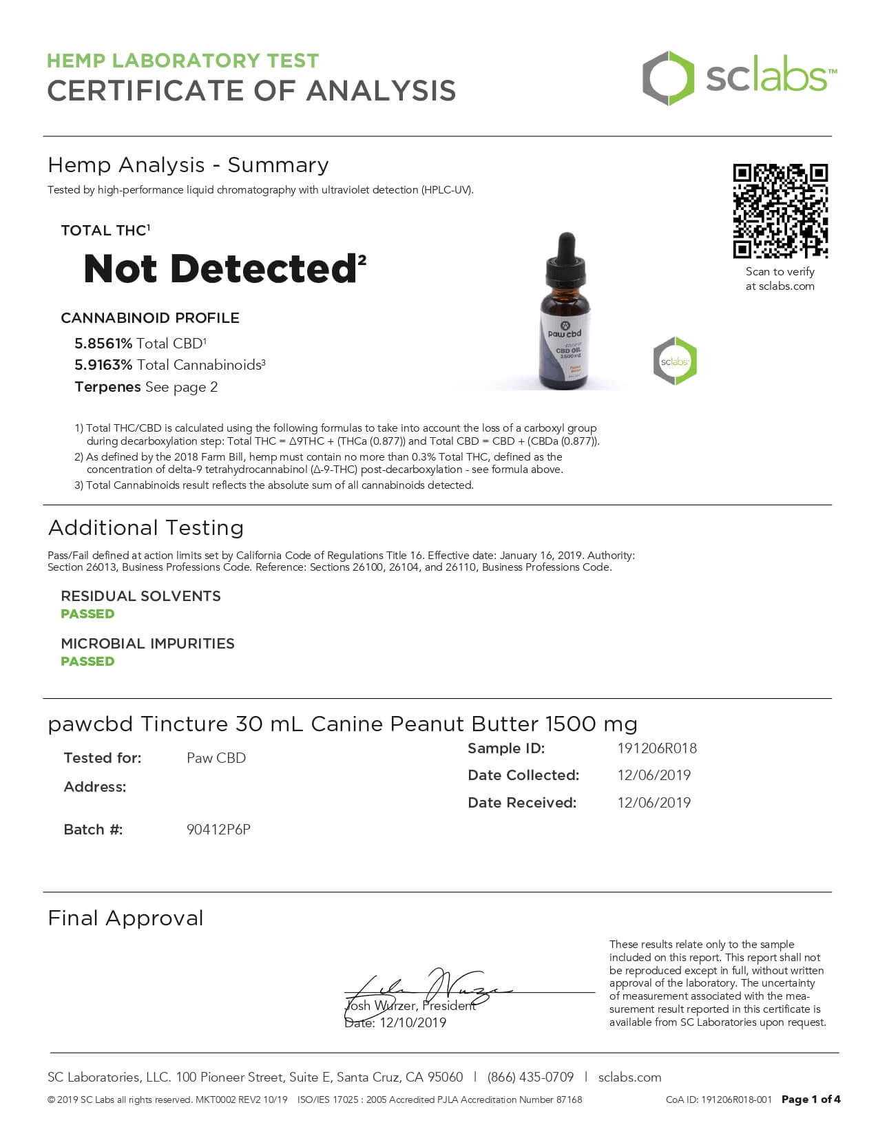 cbdMD CBD Pet Tincture Peanut Butter Flavored for Canines 1500mg Lab Report