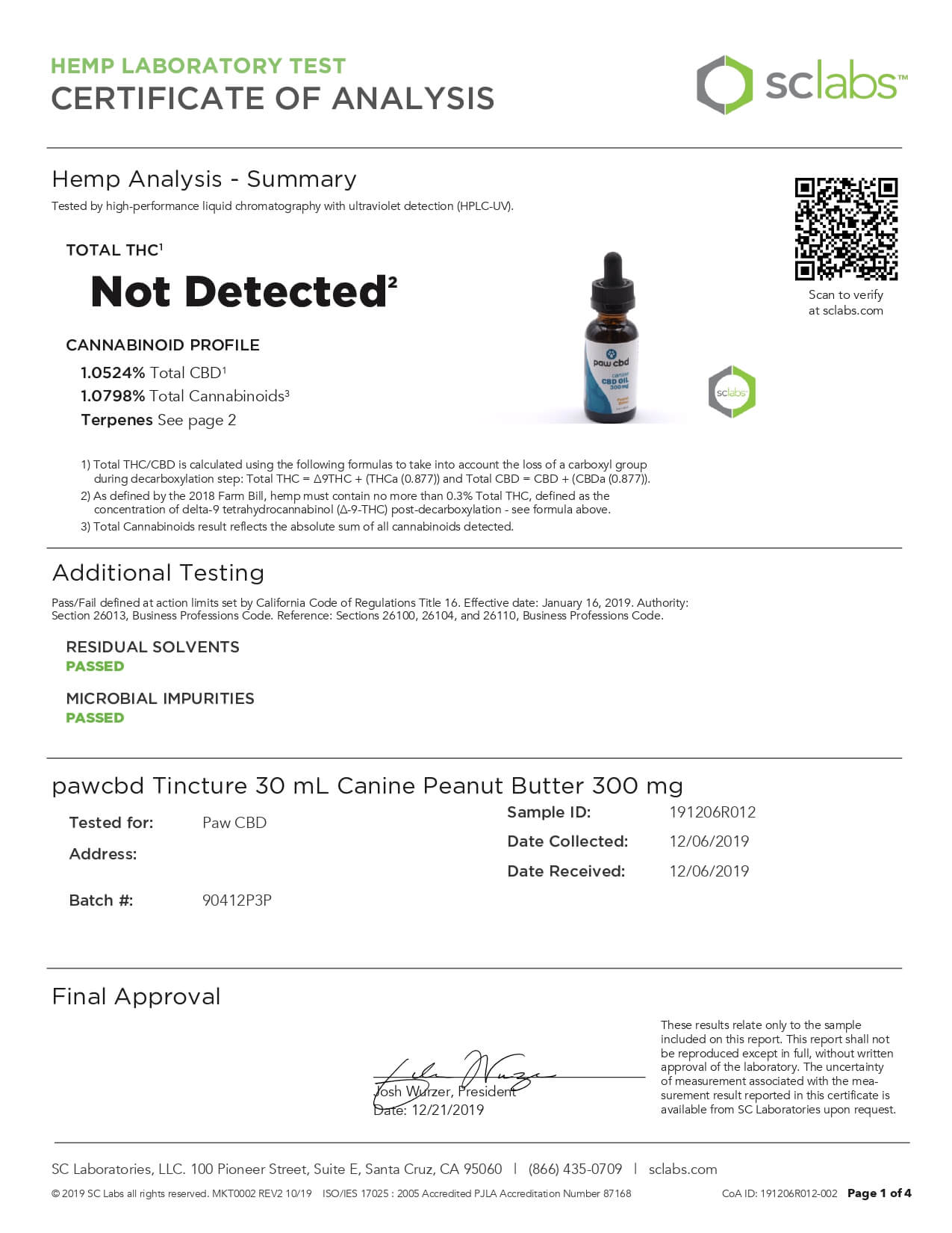 cbdMD CBD Pet Tincture Peanut Butter Flavored for Canines 300mg Lab Report