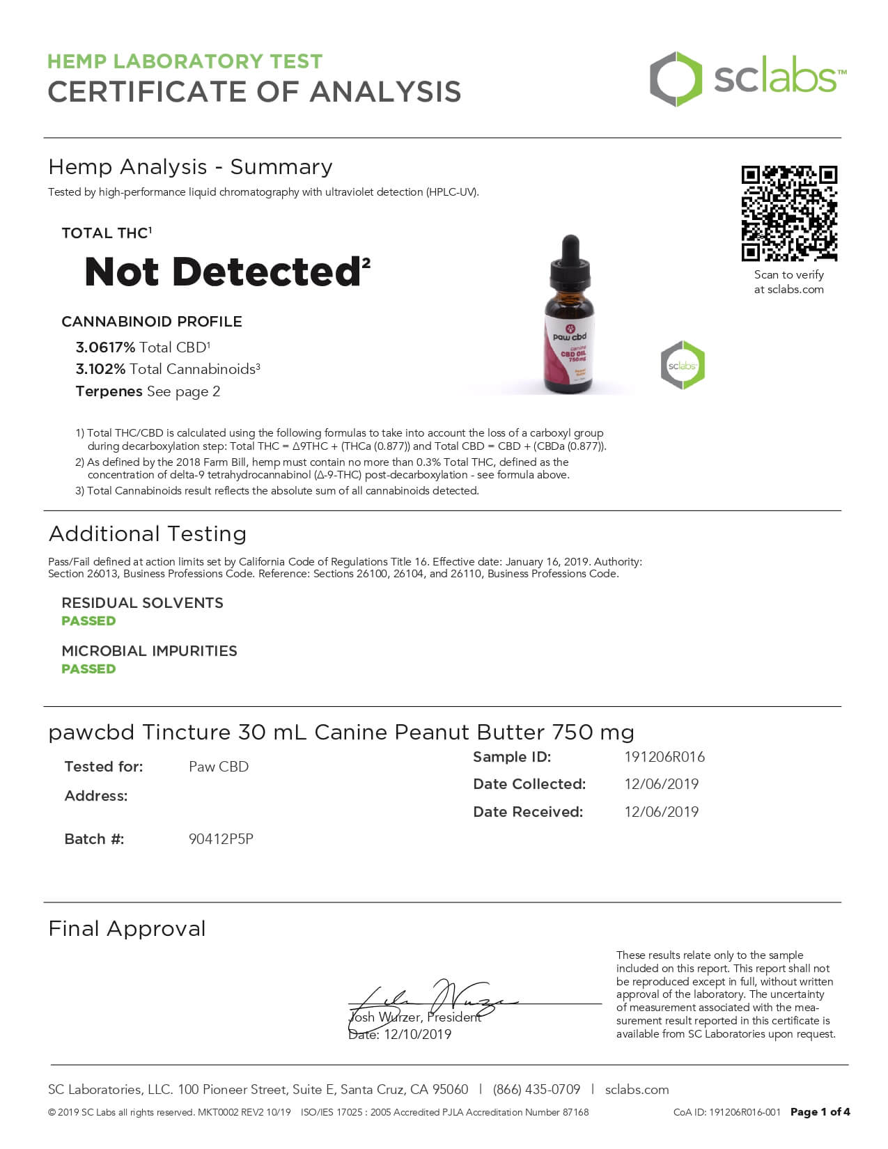 cbdMD CBD Pet Tincture Peanut Butter Flavored for Canines 750mg Lab Report