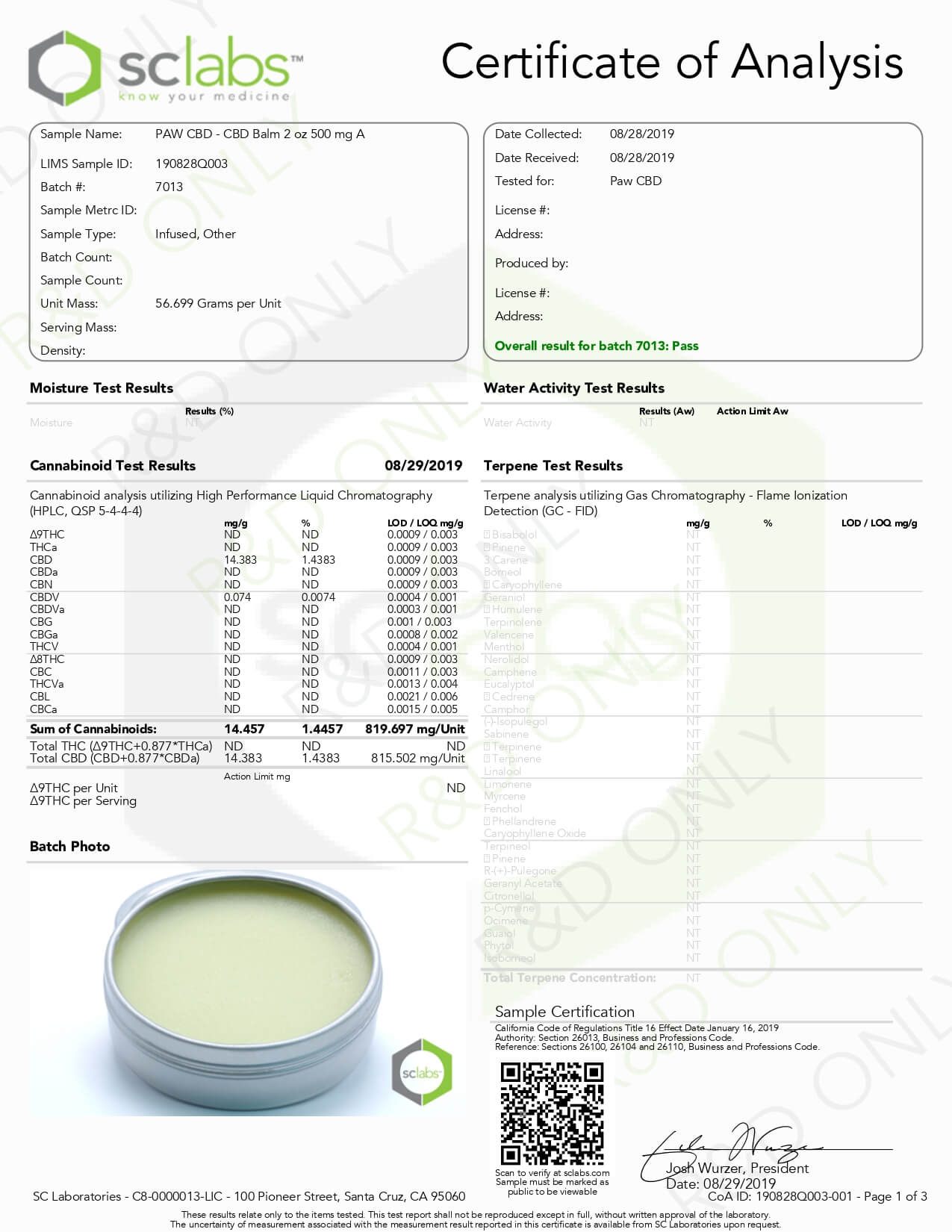 cbdMD CBD Pet Topical Paw Balm Lab Report
