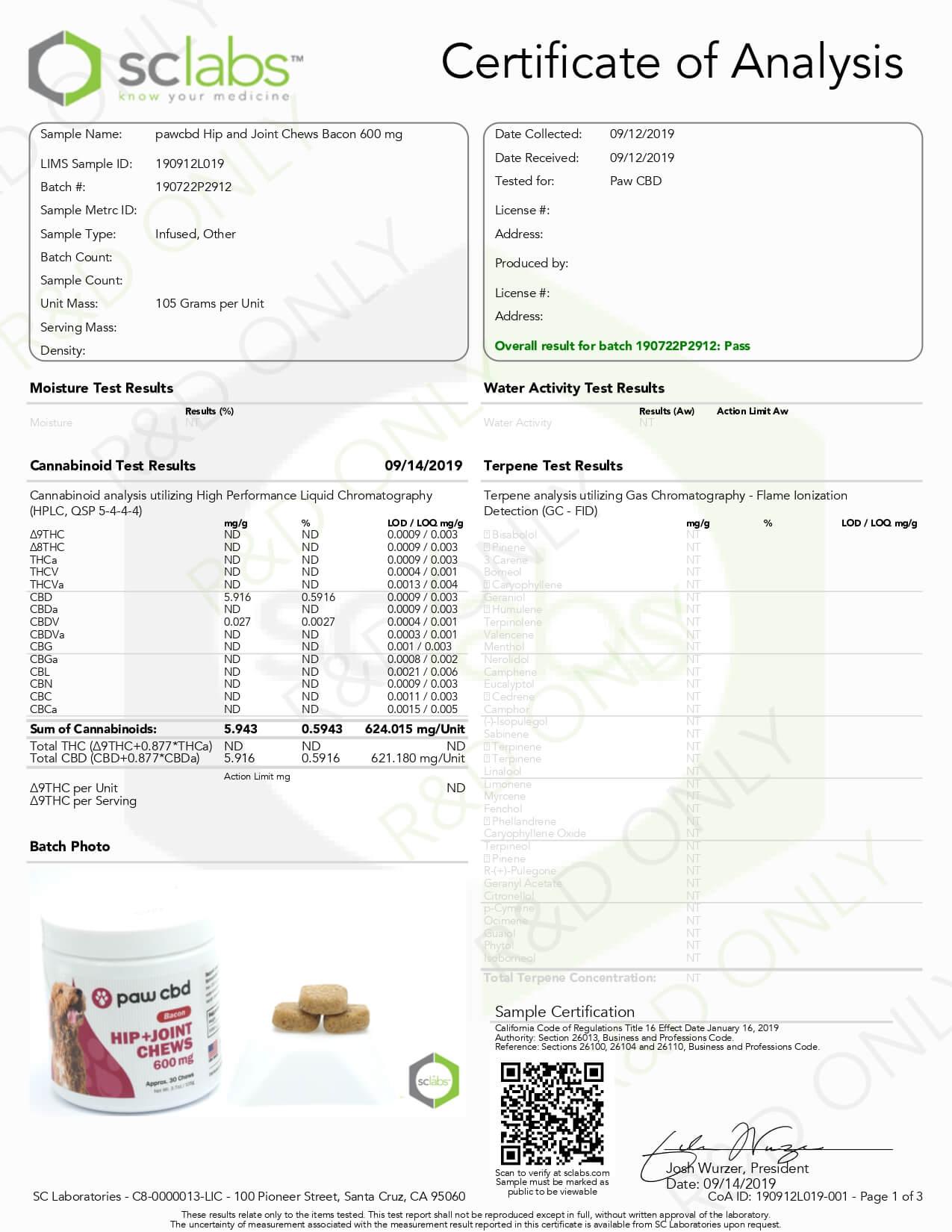 cbdMD CBD Pet Treats Bacon Canine Hip+Joint Chews 600mg Lab Report