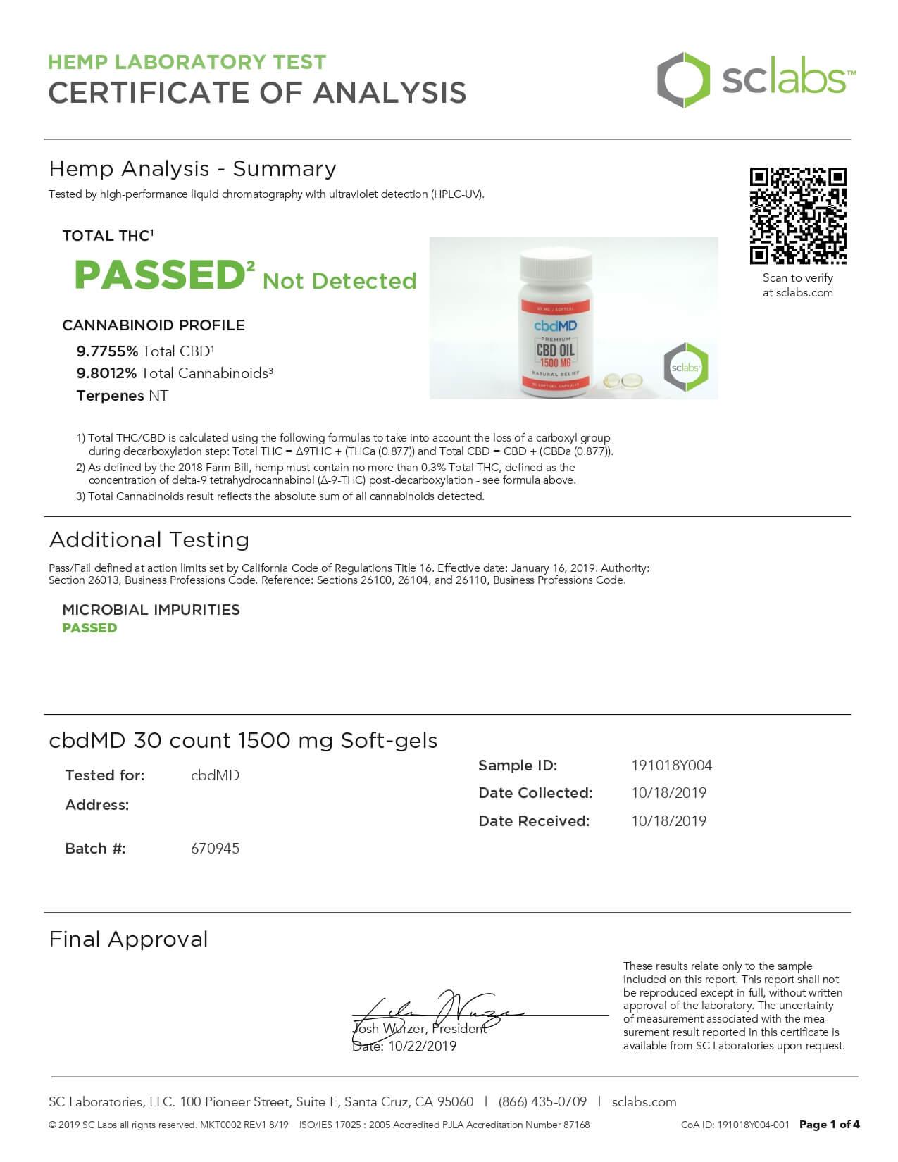 cbdMD CBD Softgels Cbd Oil Softgel Capsules 30ct 1500mg Lab Report