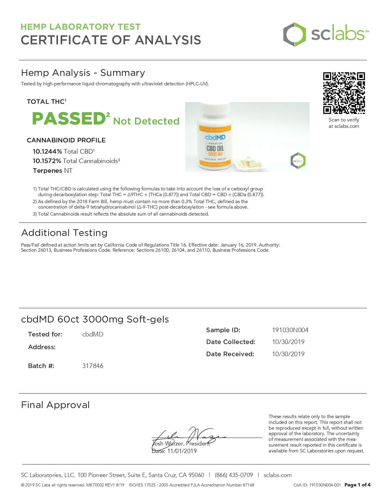 cbdMD CBD Softgels Cbd Oil Softgel Capsules 60ct 3000mg Lab Report
