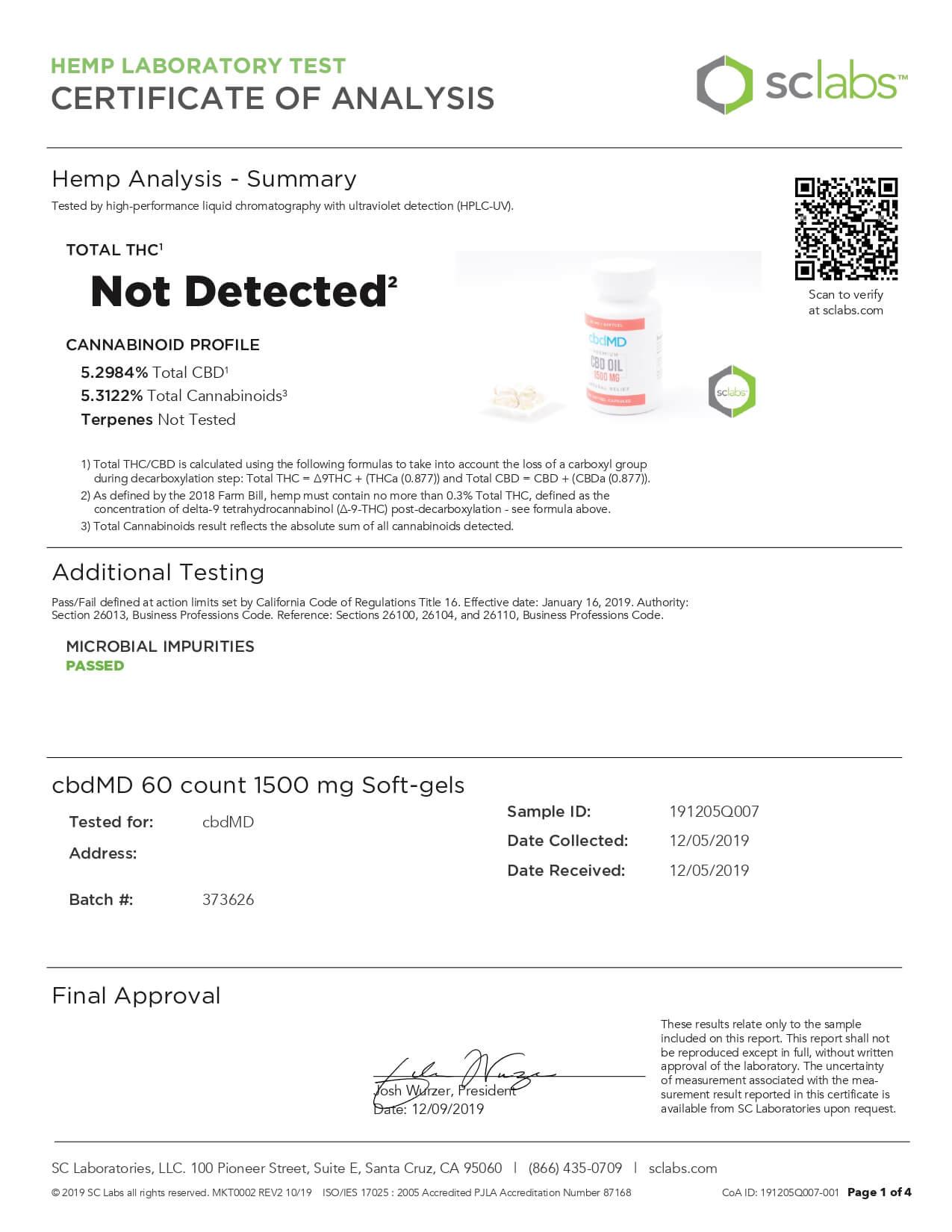 cbdMD CBD Softgels Cbd Oil Softgel Capsules 60ct 500mg Lab Report