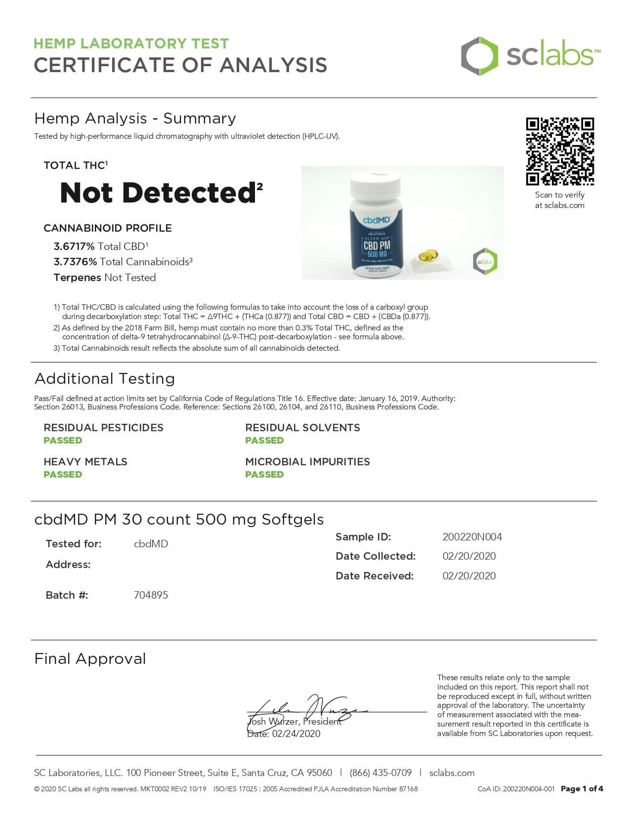 cbdMD CBD Softgels PM Softgel Capsules 500mg Lab Report