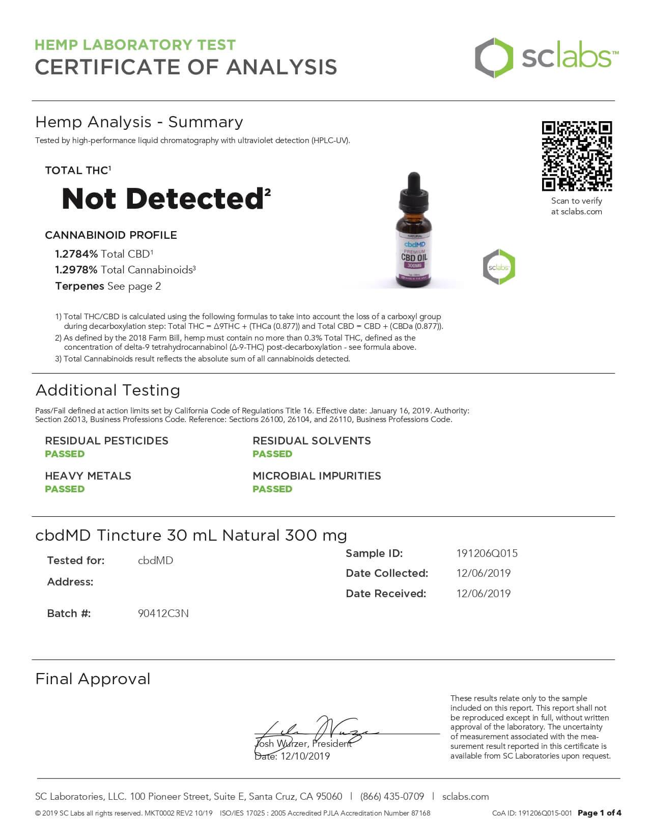 cbdMD CBD Tincture Broad Specrum Natural 30ml 300mg Lab Report