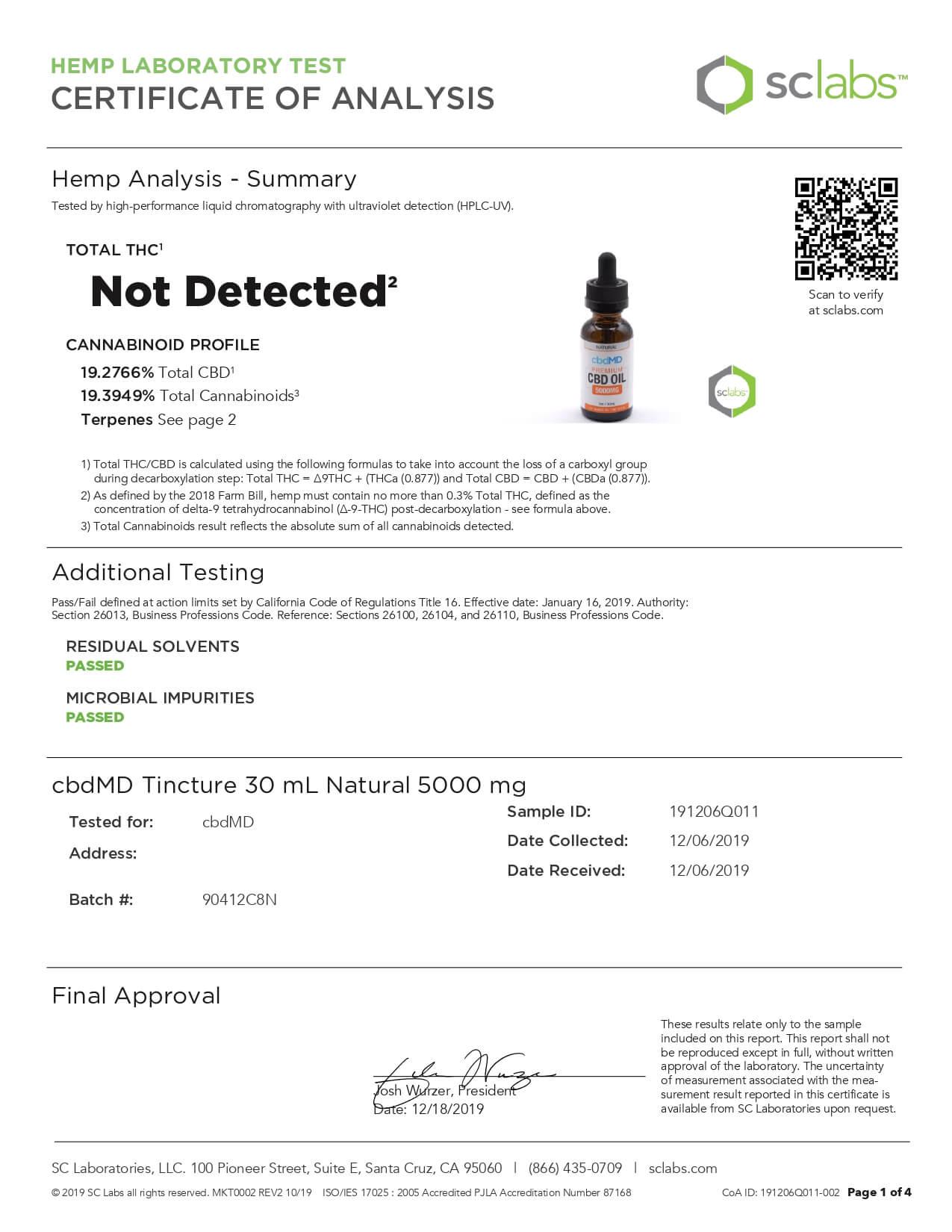 cbdMD CBD Tincture Broad Specrum Natural 30ml 5000mg Lab Report