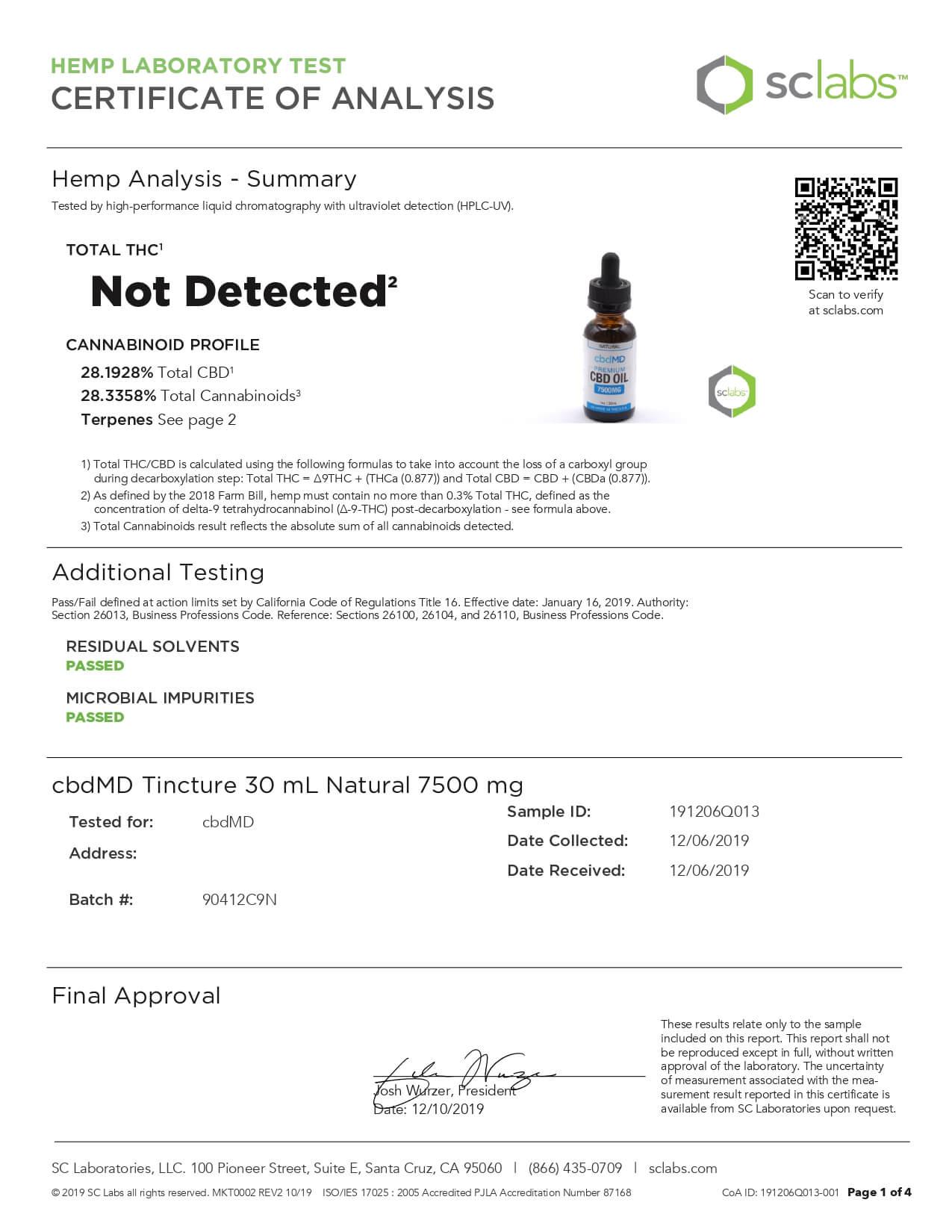 cbdMD CBD Tincture Broad Specrum Natural 30ml 7500mg Lab Report