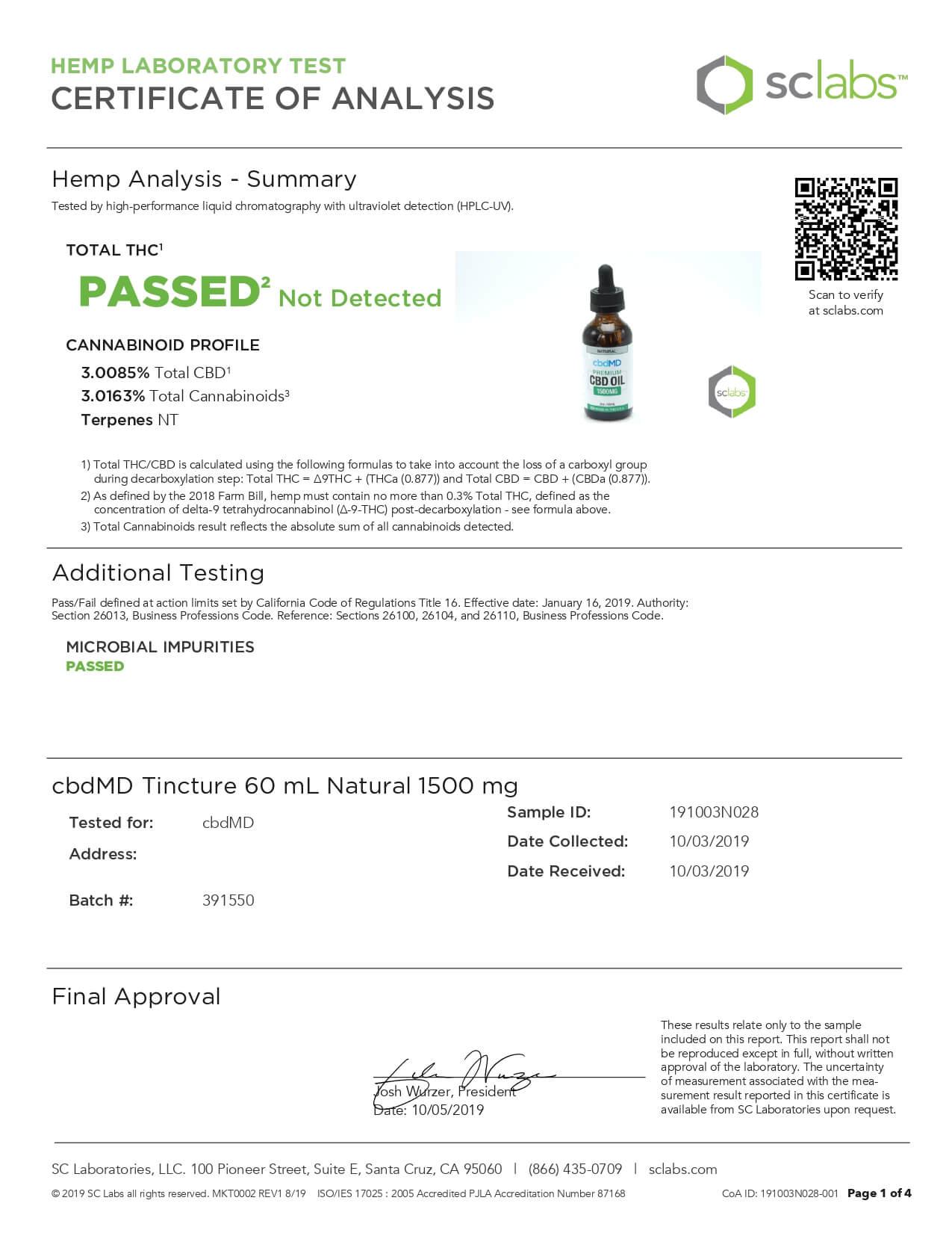 cbdMD CBD Tincture Broad Specrum Natural 60ml 1500mg Lab Report