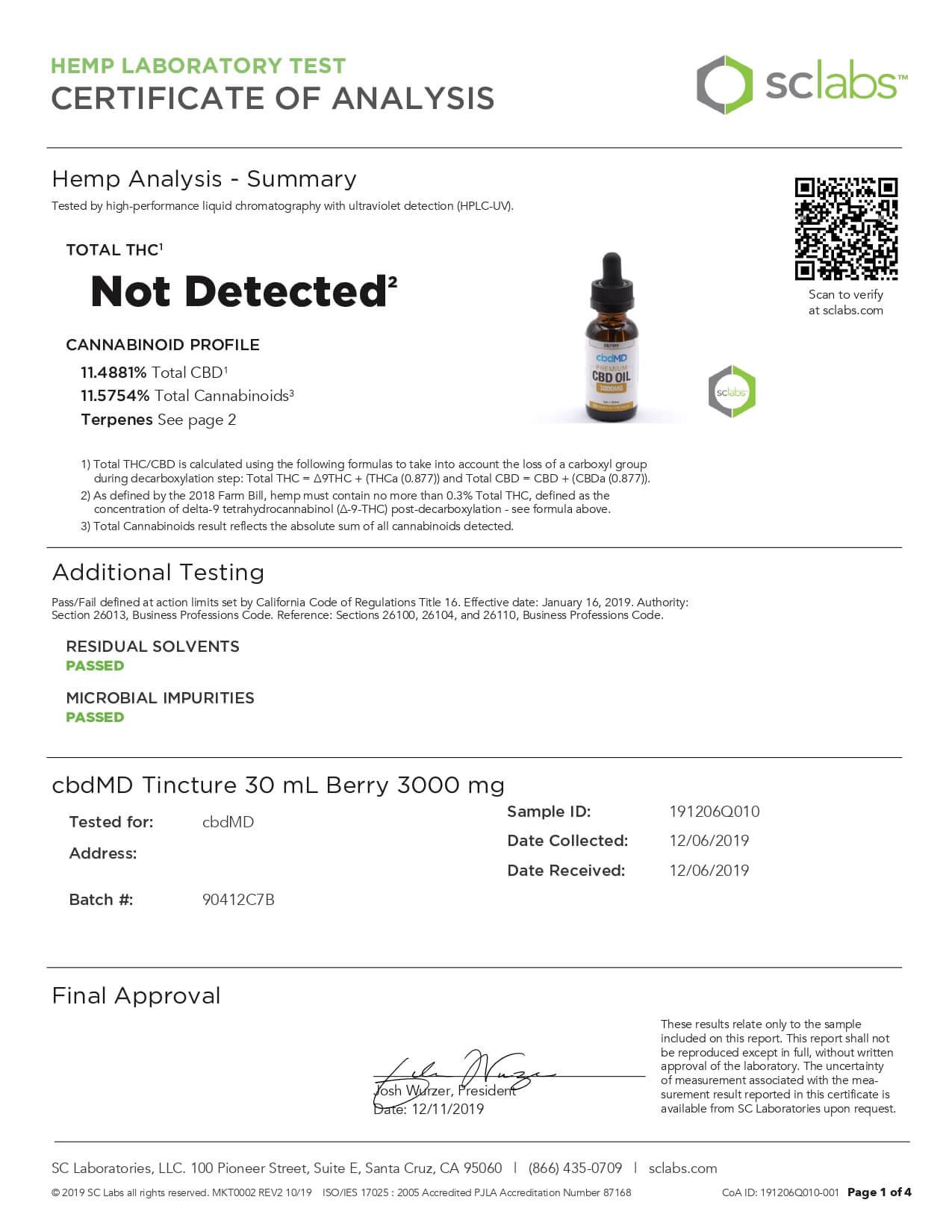 cbdMD CBD Tincture Broad Spectrum Berry 30ml 3000mg Lab Report