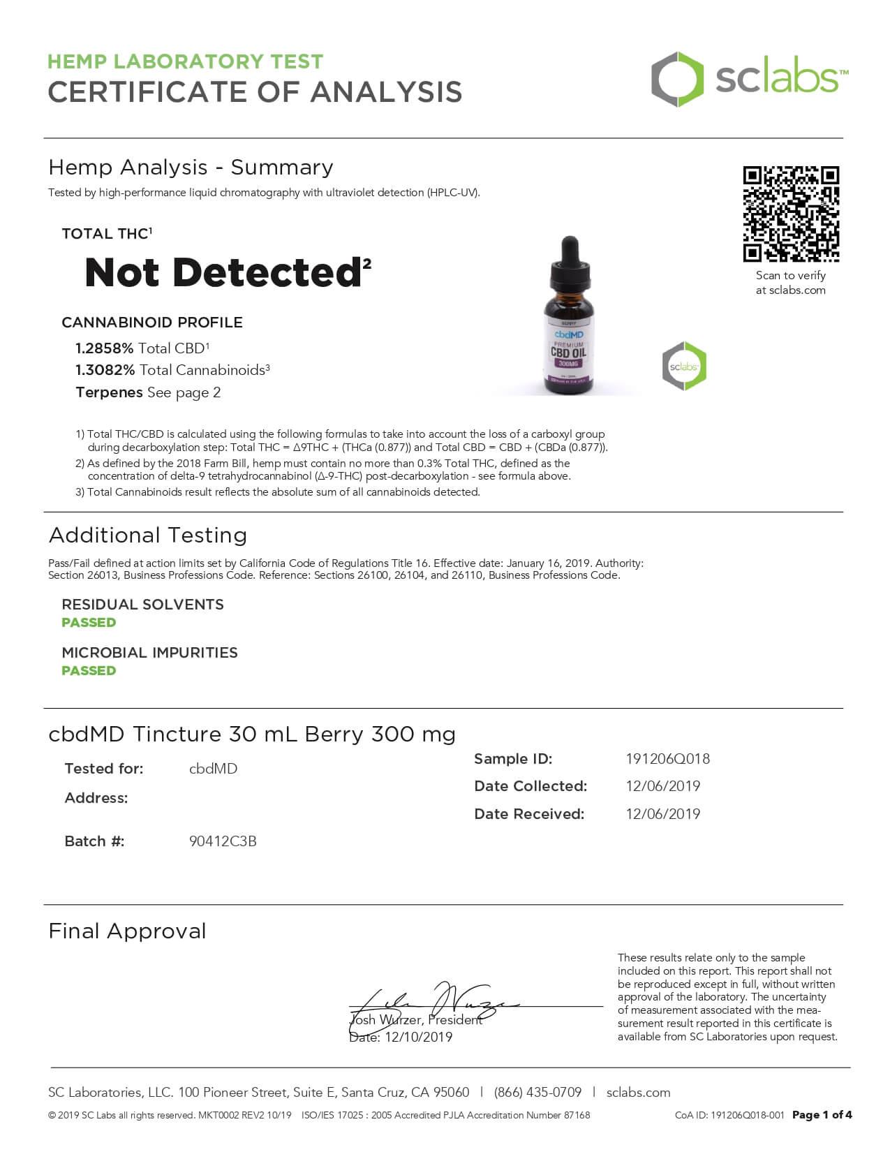 cbdMD CBD Tincture Broad Spectrum Berry 30ml 300mg Lab Report