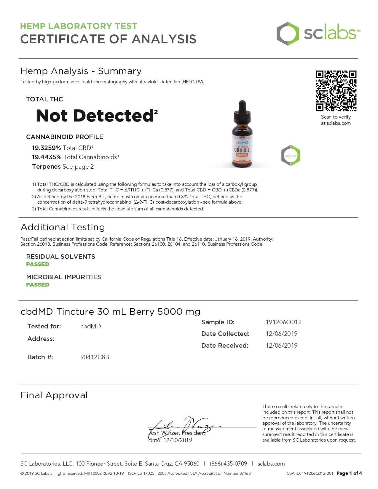 cbdMD CBD Tincture Broad Spectrum Berry 30ml 5000mg Lab Report