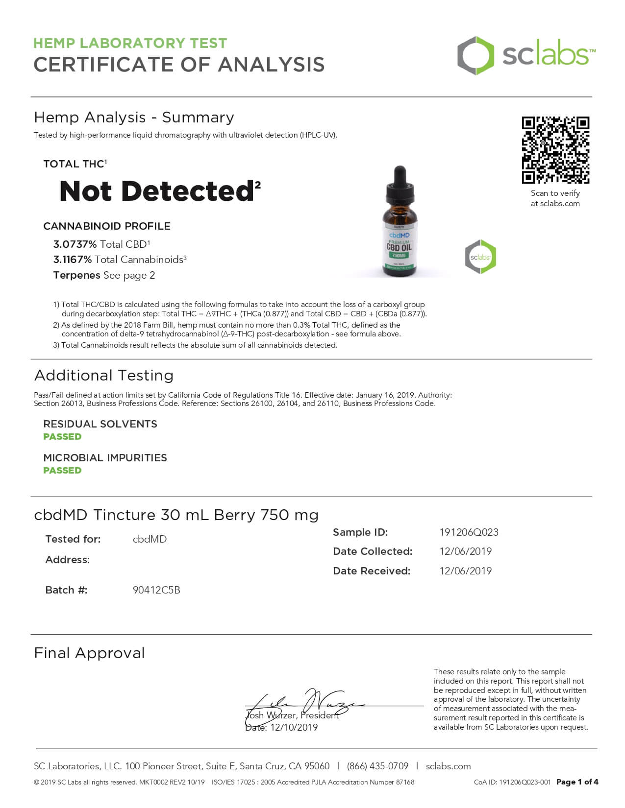cbdMD CBD Tincture Broad Spectrum Berry 30ml 750mg Lab Report