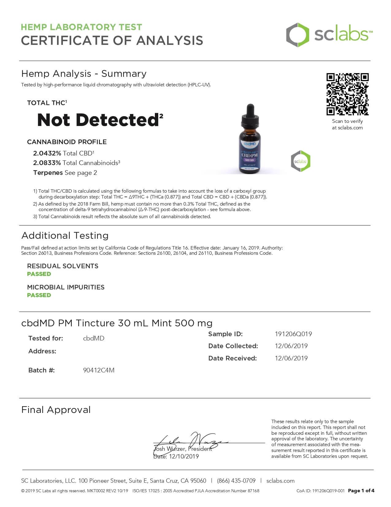 cbdMD CBD Tincture Broad Spectrum Mint 30ml 500mg Lab Report