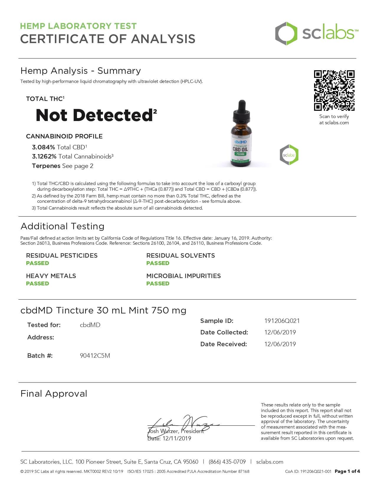 cbdMD CBD Tincture Broad Spectrum Mint 30ml 750mg Lab Report