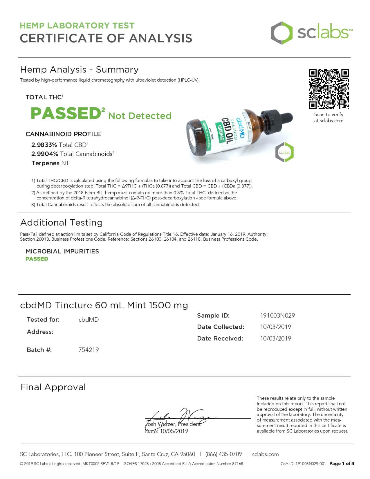 cbdMD CBD Tincture Broad Spectrum Mint 60ml 1500mg Lab Report