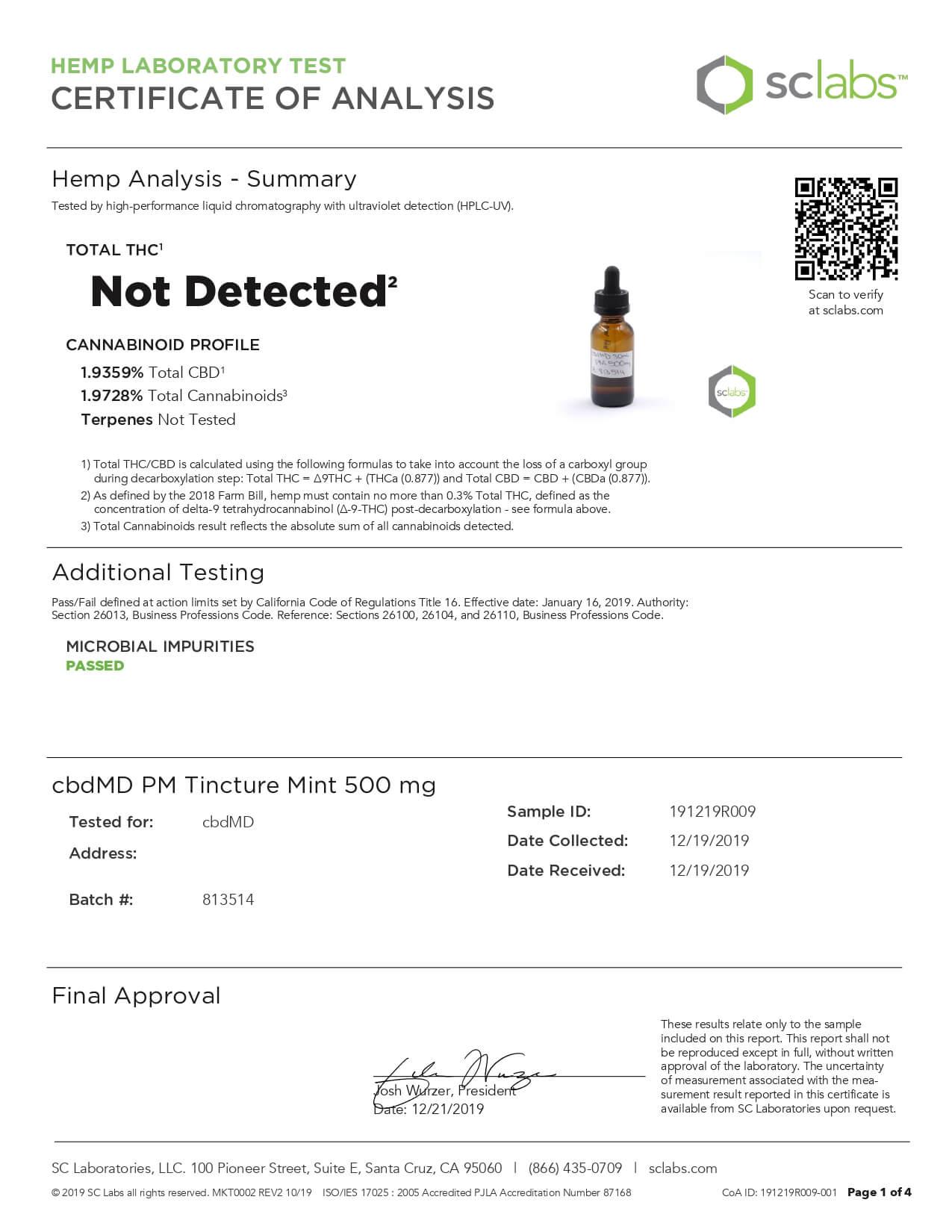 cbdMD CBD Tincture Broad Spectrum Nighttime PM Mint Lab Report