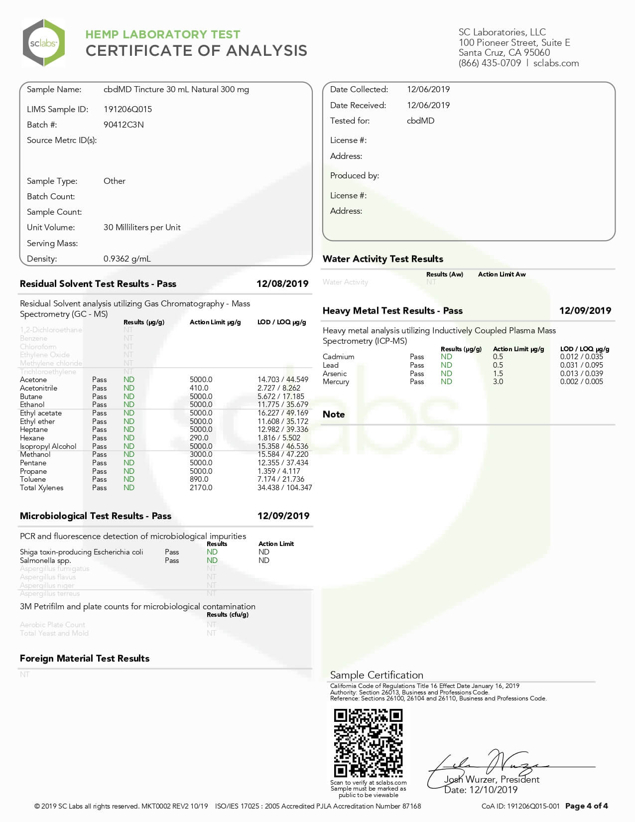 cbdMD CBD Tincture Broad Spectrum Orange 30ml 300mg Lab Report