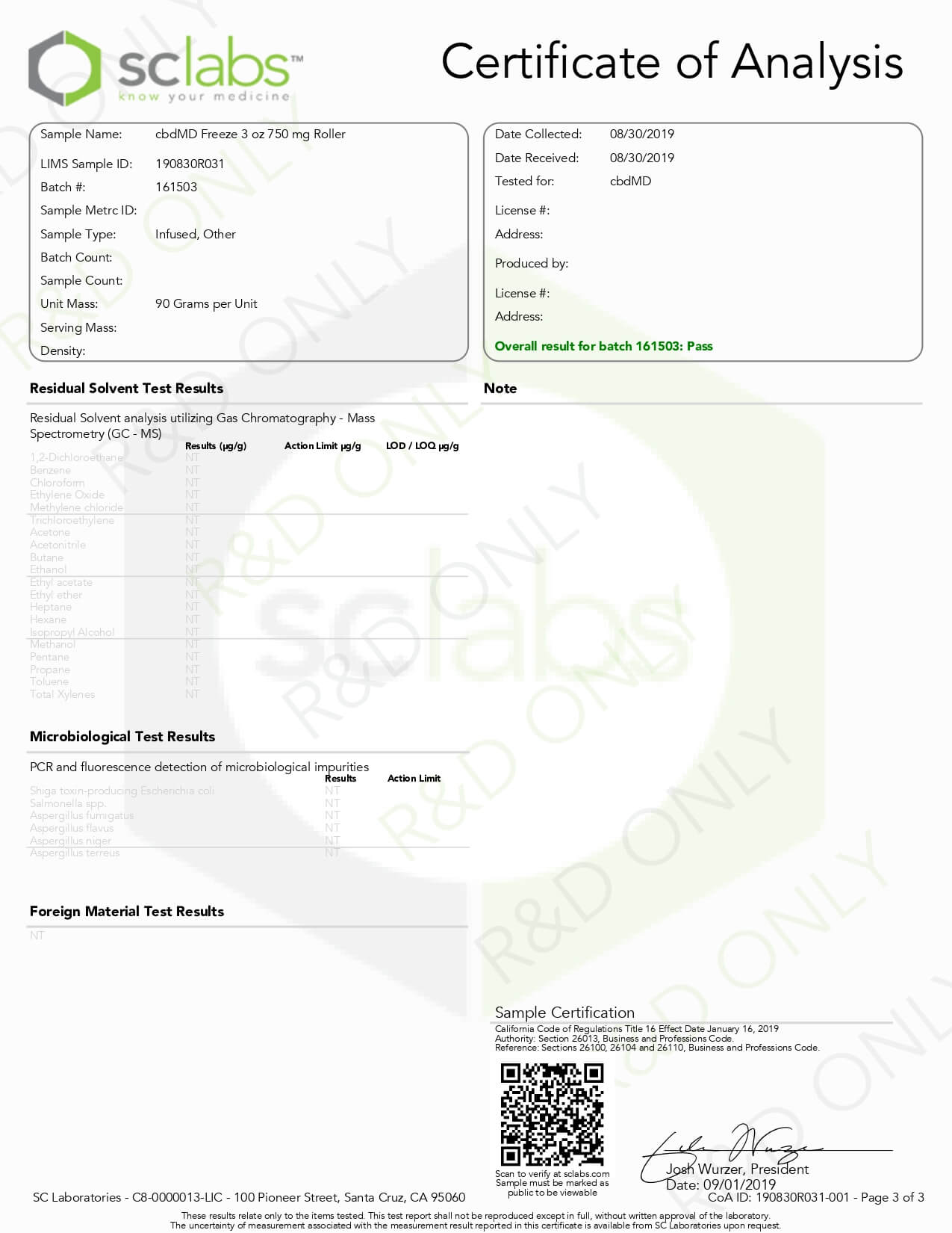 cbdMD CBD Topical Freeze Cold Therapy 3oz 750mg Lab Report