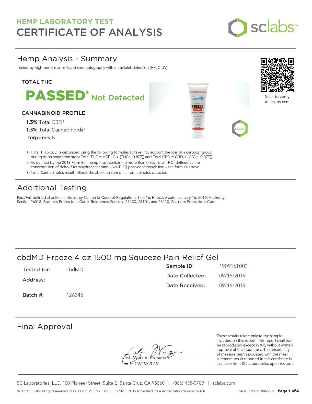 cbdMD CBD Topical Freeze Cold Therapy 4oz 1500mg Lab Report
