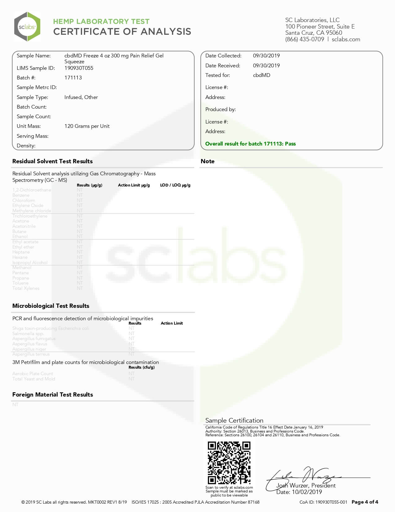 cbdMD CBD Topical Freeze Cold Therapy 4oz 300mg Lab Report